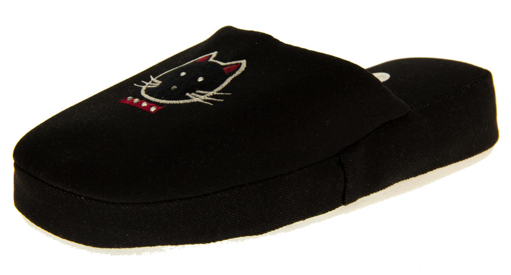 Girls Black and Navy Gorgeous Denim Padded Cat Mule Slippers
