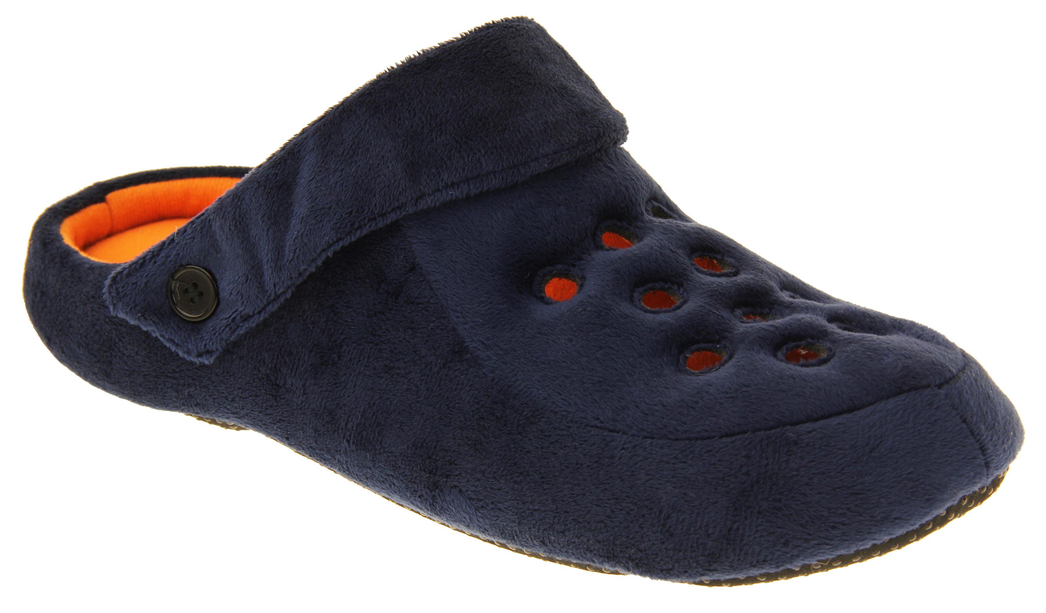 Mens Mule Slippers Black Ribbed Velour Slip On Dunlop Sizes 7 8 9 10 11 12 13