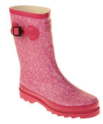 Womens Floral Calf Length Rubber Festival Wellington Boots Thumbnail 4