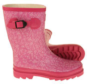 Womens Floral Calf Length Rubber Festival Wellington Boots Thumbnail 8