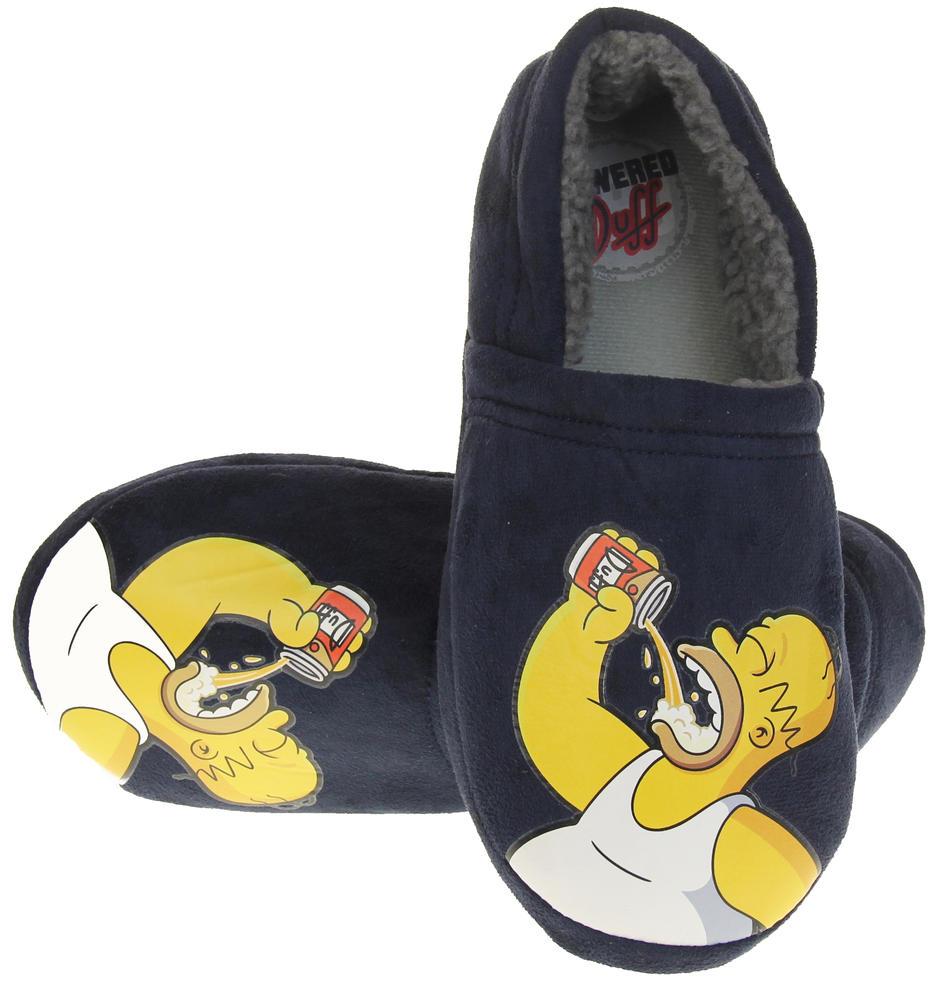 Mens Navy Blue Homer Simpson Comfy Fleece Novelty Slippers