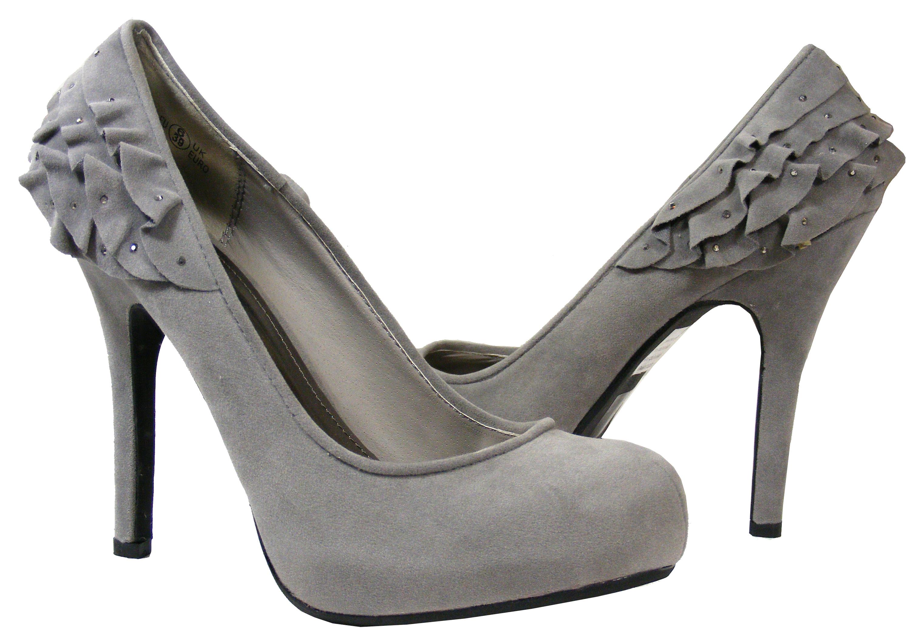 Image Is Loading Las Grey Amp Silver Sequin Diamante Prom Heels