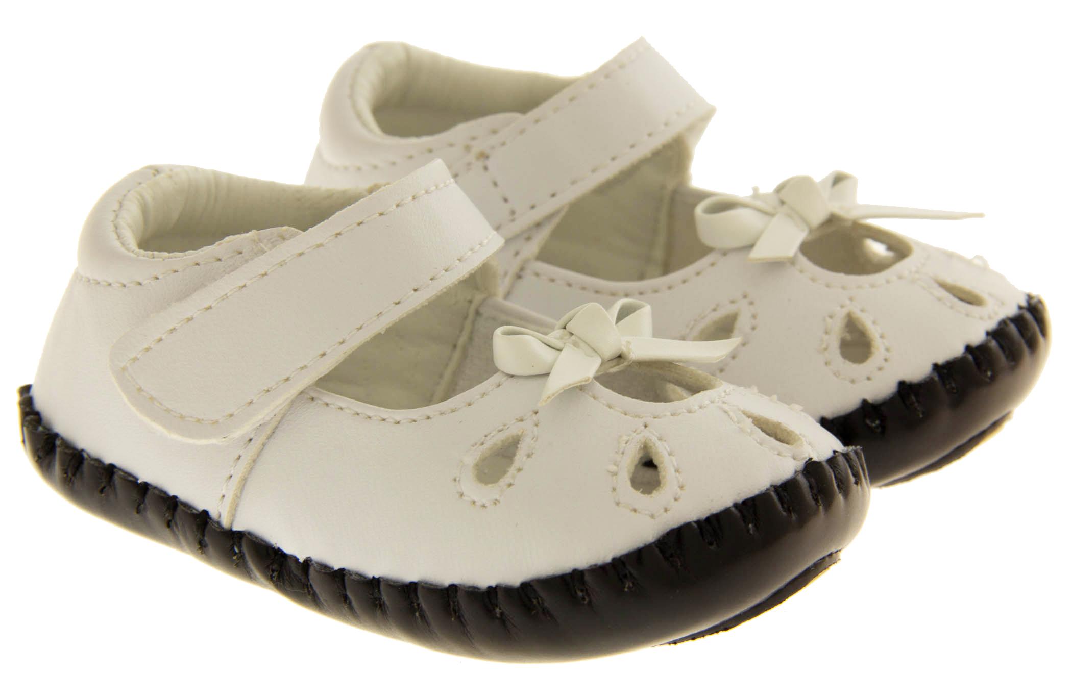 New Baby Infant Toddler Girls White Kiddiflex Sandals Soft Pram