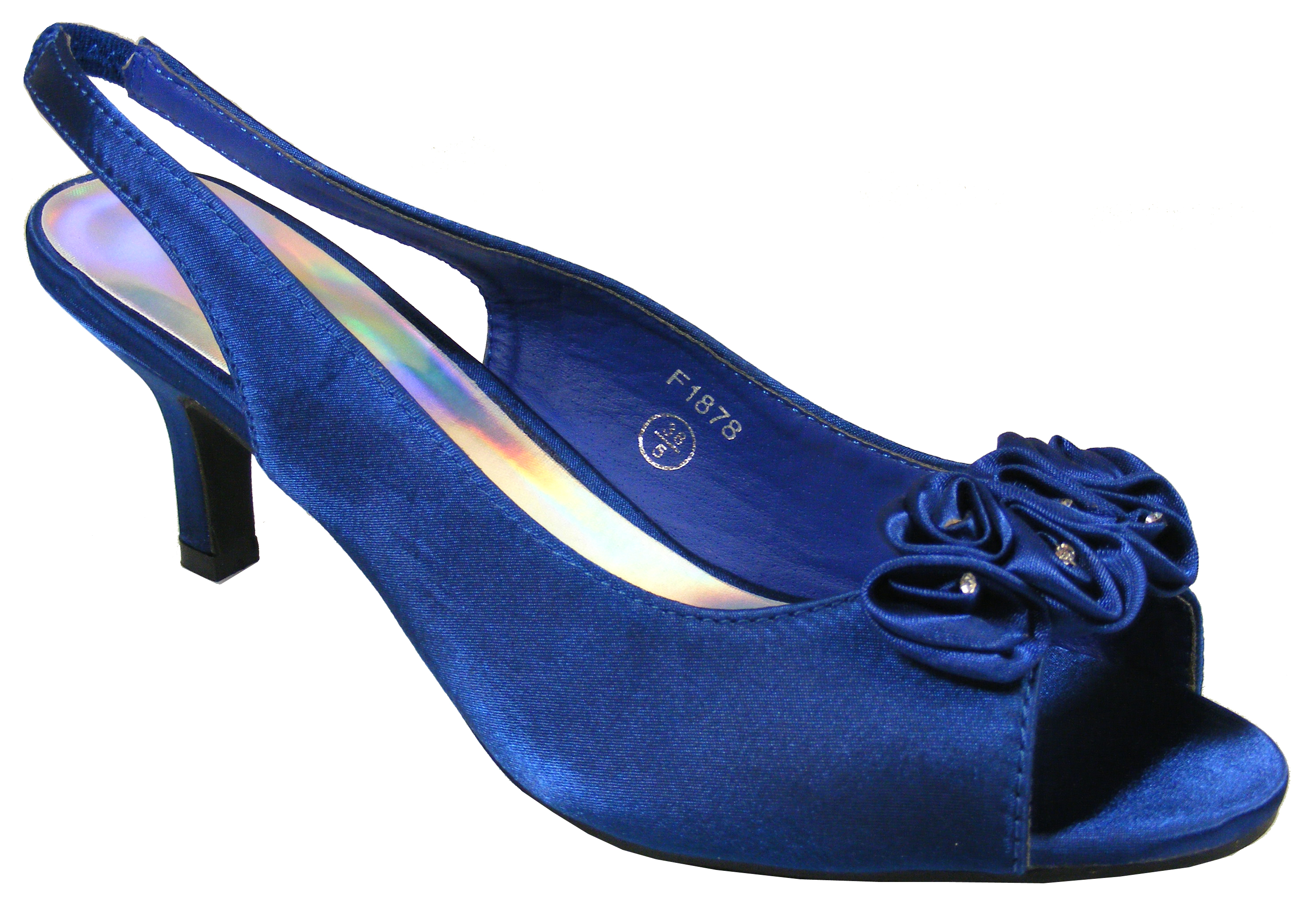Image Is Loading Womens Navy Blue Satin Low Heels Slingback Wedding