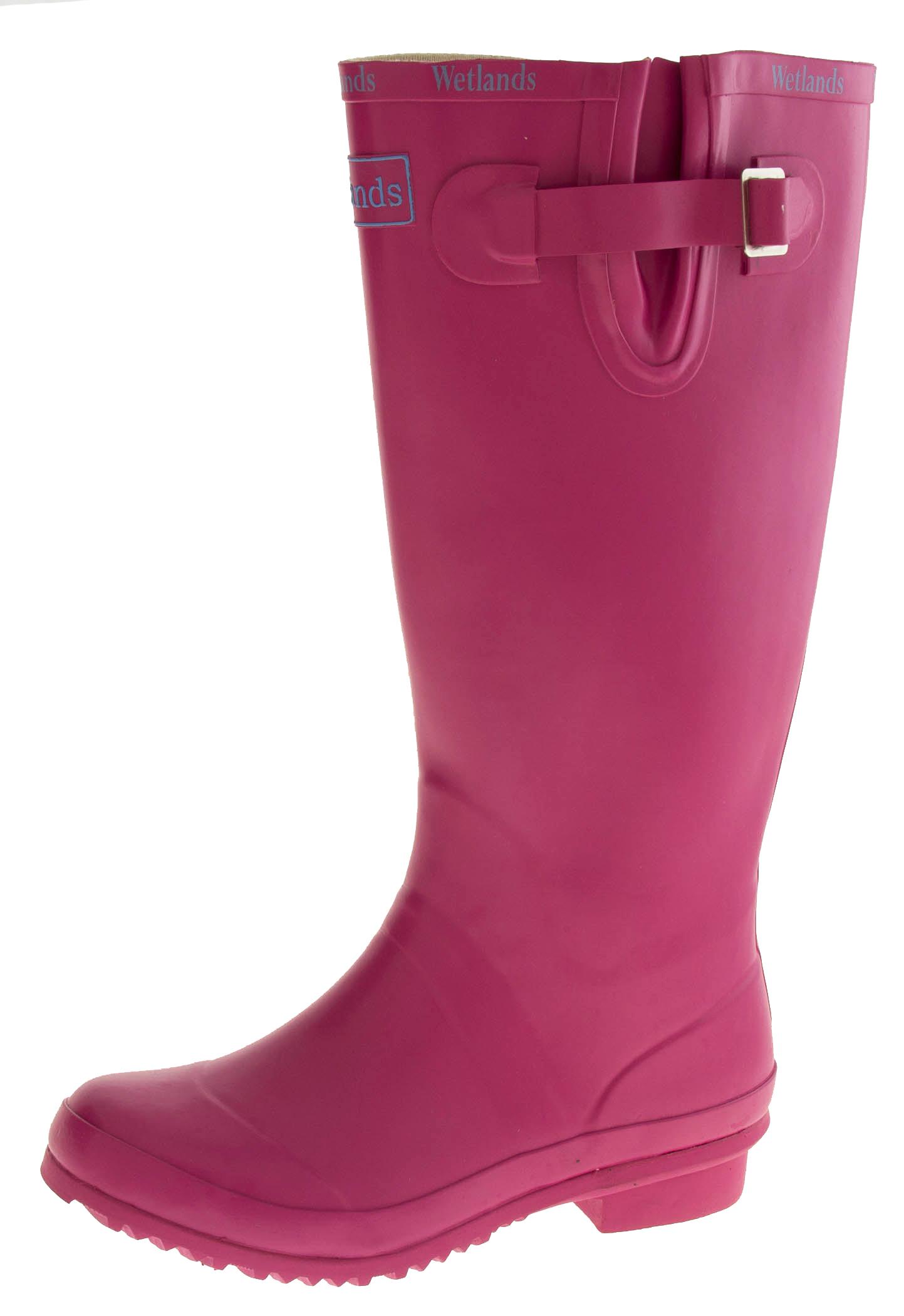 WOMEN/'S WETLANDS STRIPED RAIN FESTIVAL CALF WELLIES LADIES NEW WELLINGTON BOOTS