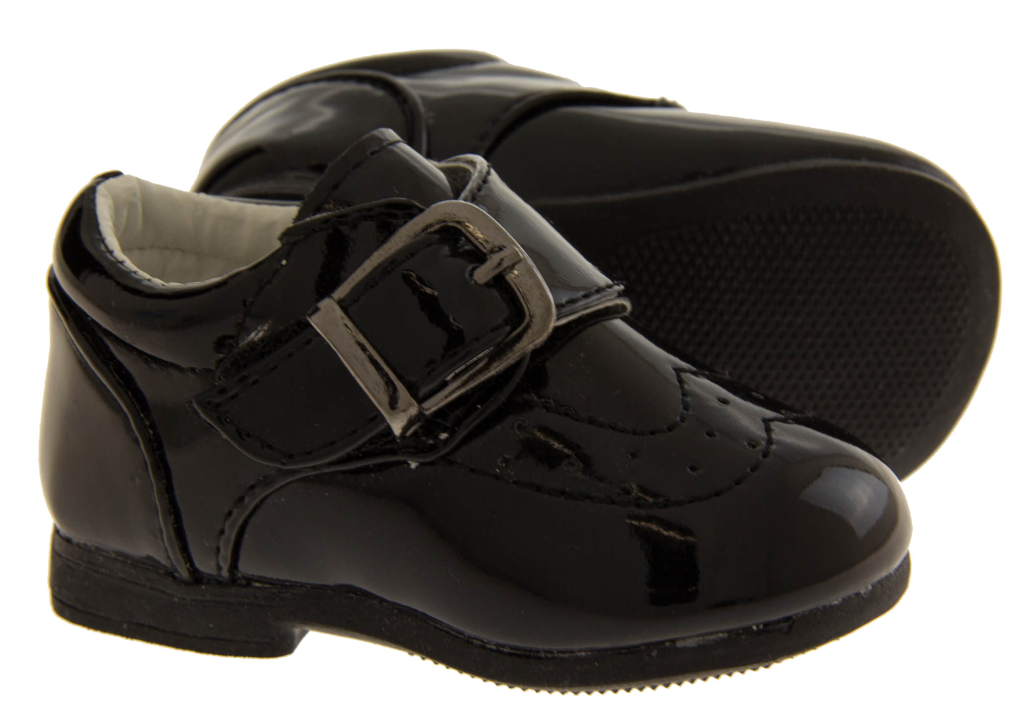 83cf6ce050fc Sentinel New Baby Boys Infant Black Smart Buckle Shoes Wedding Party  Christening Size 0