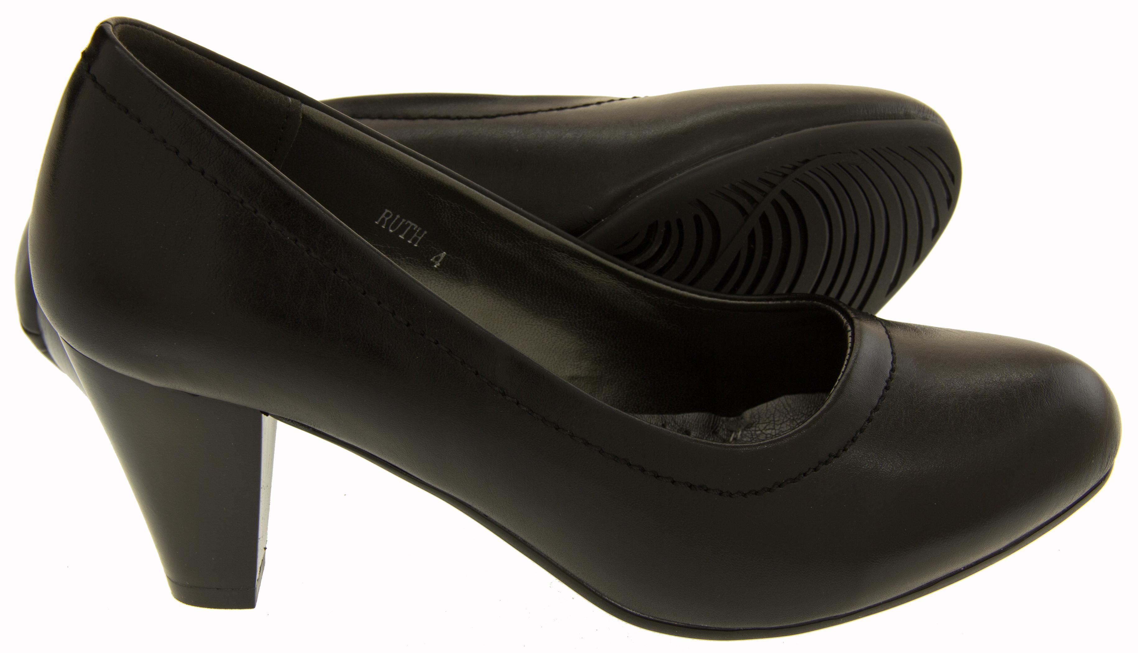 5a4a8a62bea2 Ladies Mid Heel Court Shoes Womens Smart Block Heels Shoe Sz Size 3 4 5 6