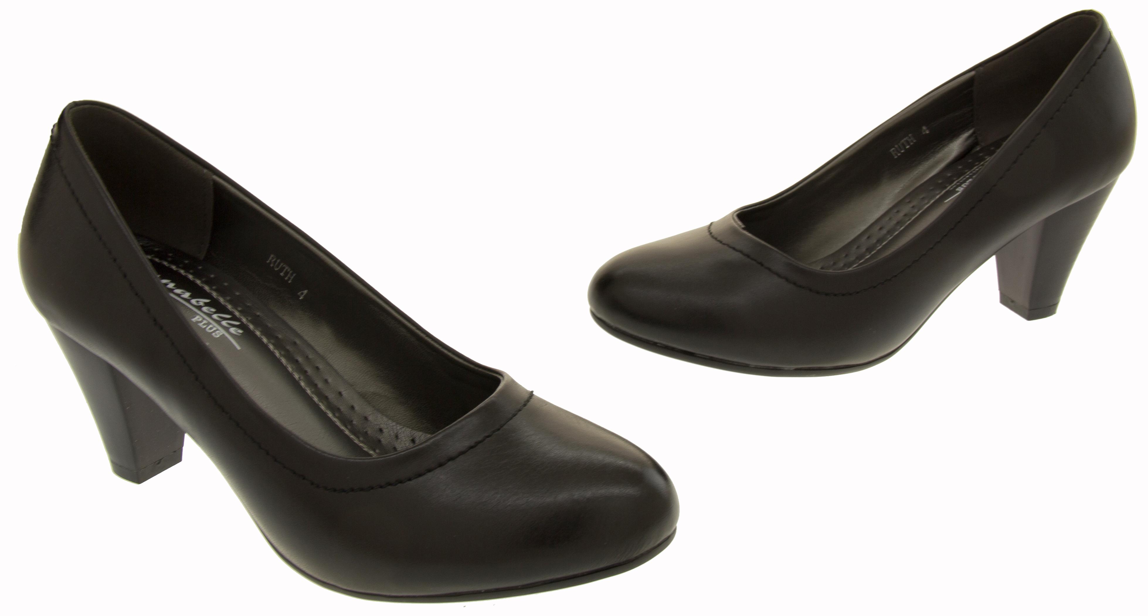 41924ac97585 Ladies Mid Heel Court Shoes Womens Smart Block Heels Shoe Sz Size 3 4 5 6