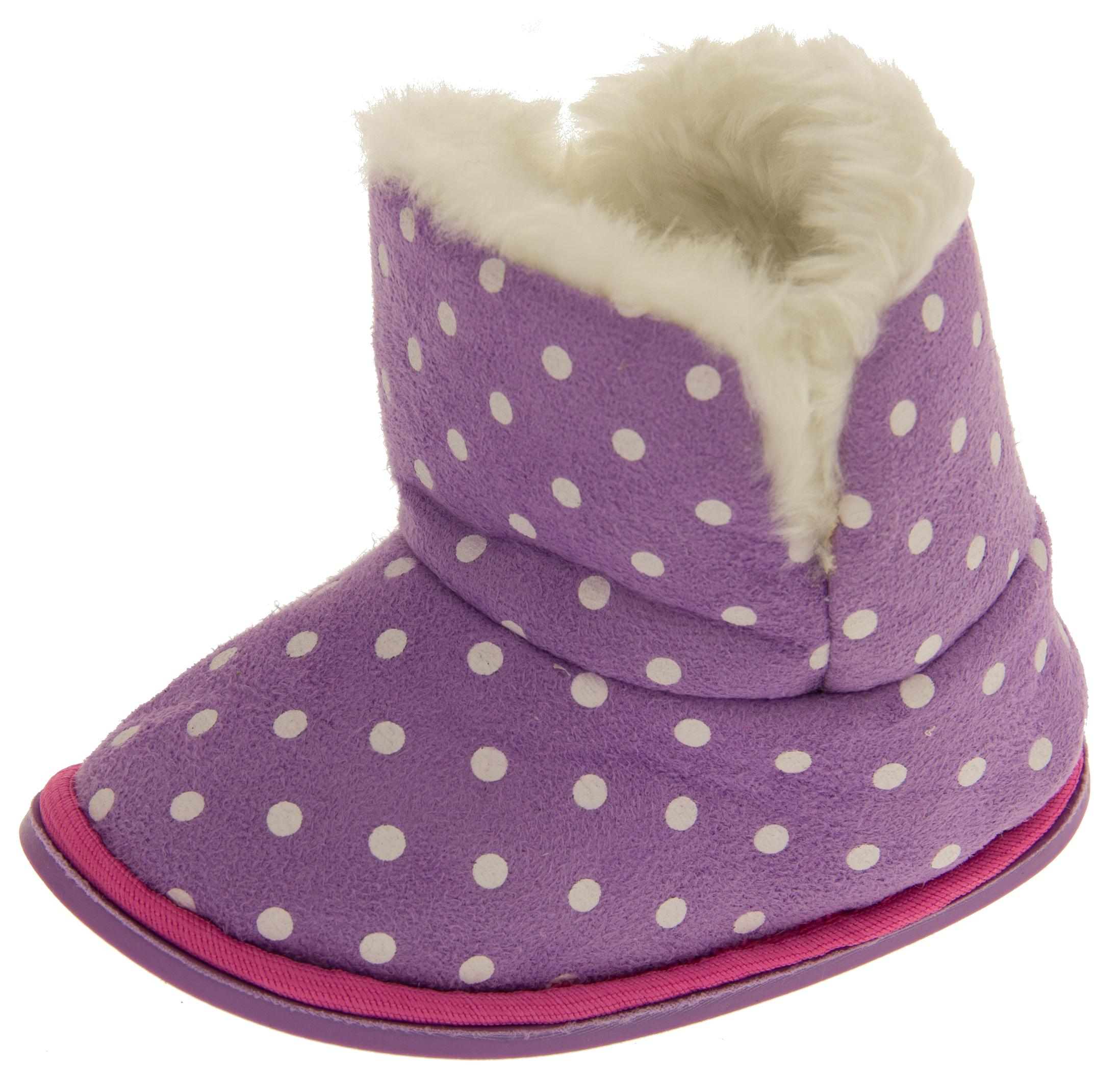 d75cf442b3a53 Girls Purple Polka Dot Faux Fur Lined Slipper Booties Flexible Sole