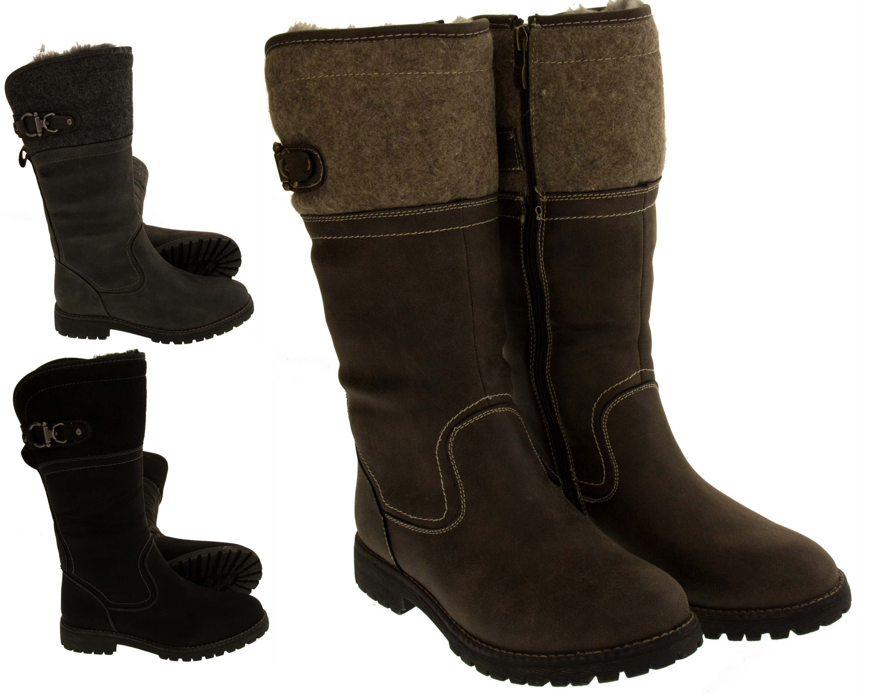 Womens Keddo Mid Calf Faux Leather Boots Ladies Warm ...