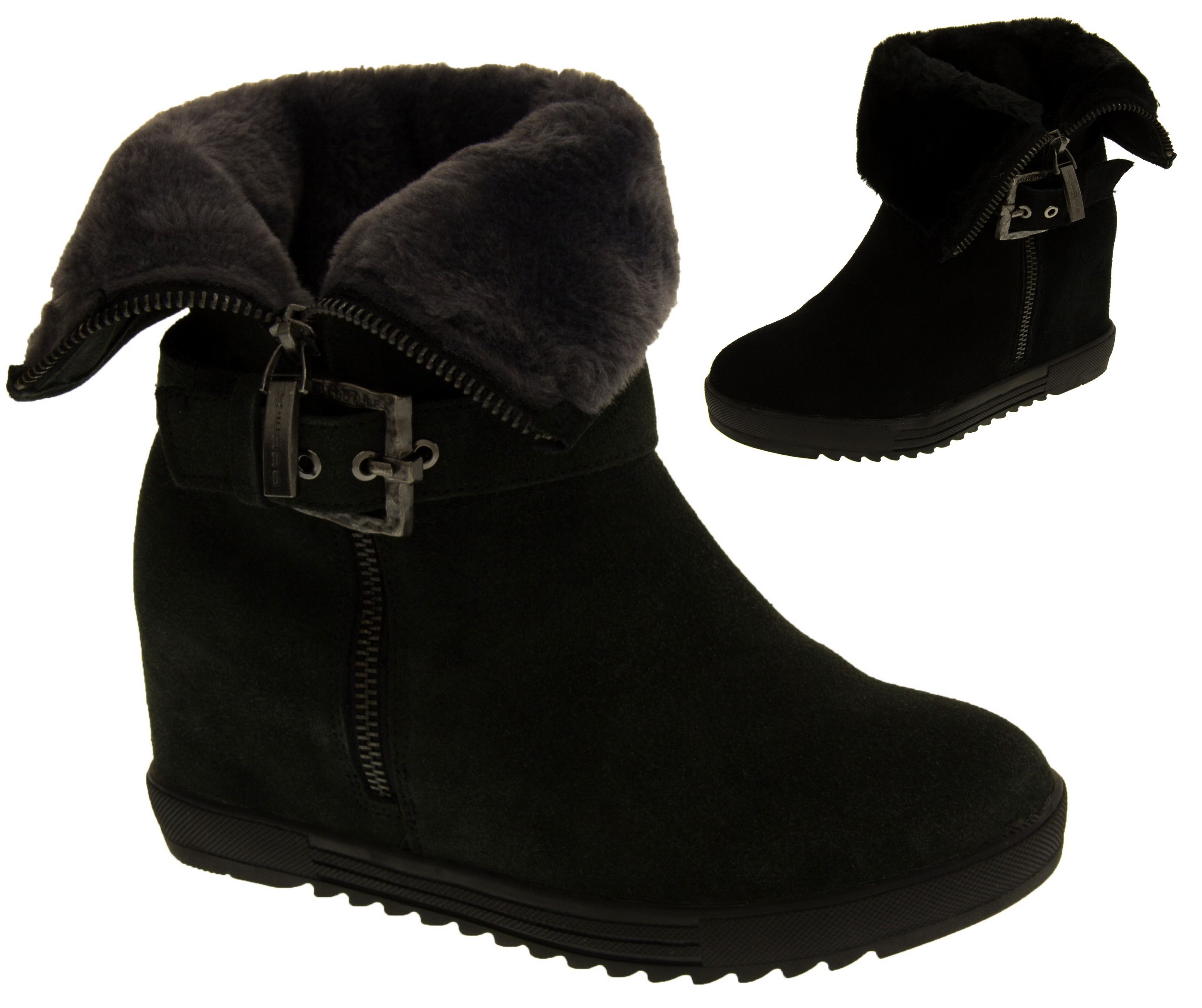 detailed pictures top quality outlet boutique Details about Ladies Keddo Faux Fur Lined Hidden Wedge Winter Ankle Boots  Sizes 3 4 5 6 7 8.