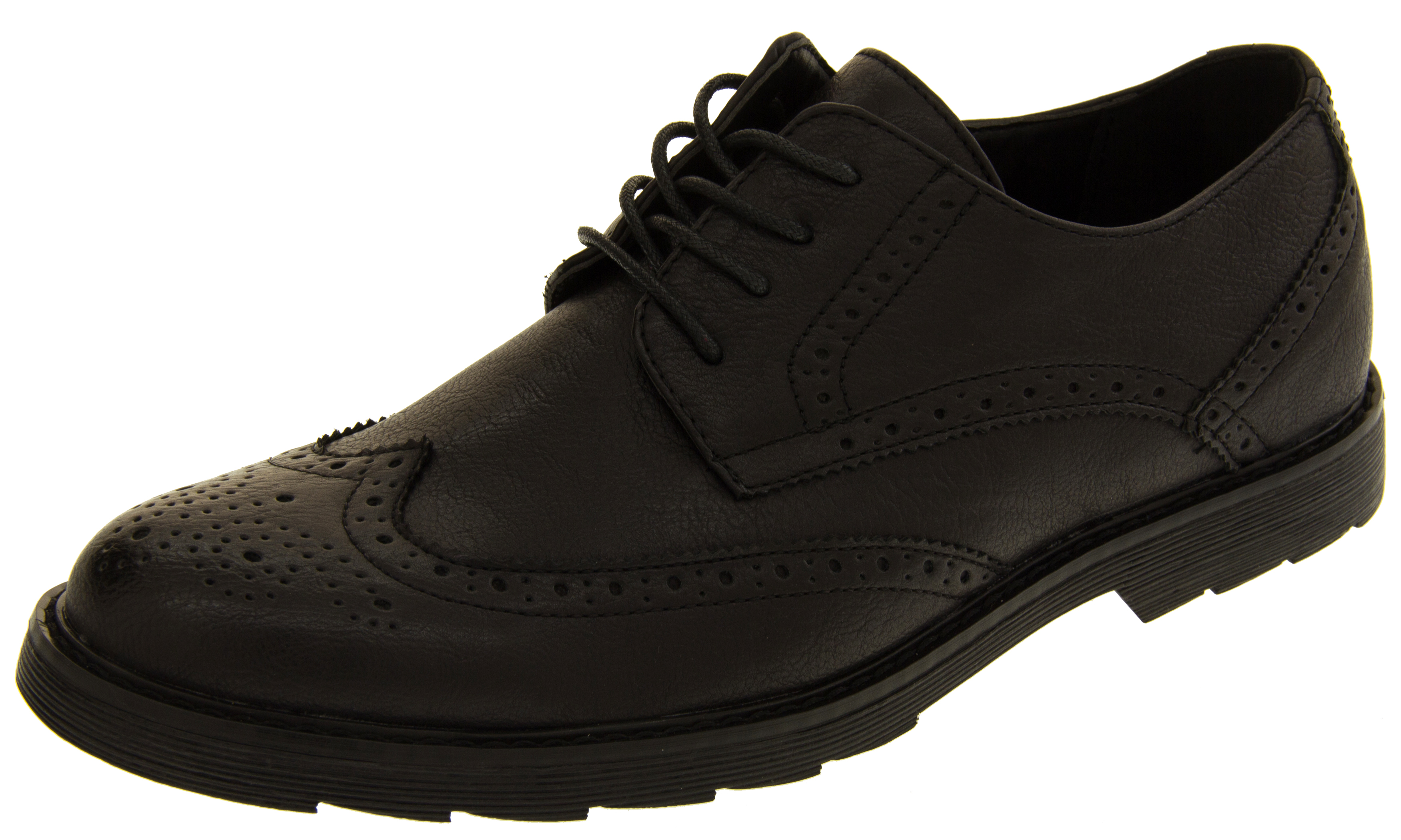 Mens Clics Faux Leather Brogues Formal Lace Up Office Shoes Smart School Shoe
