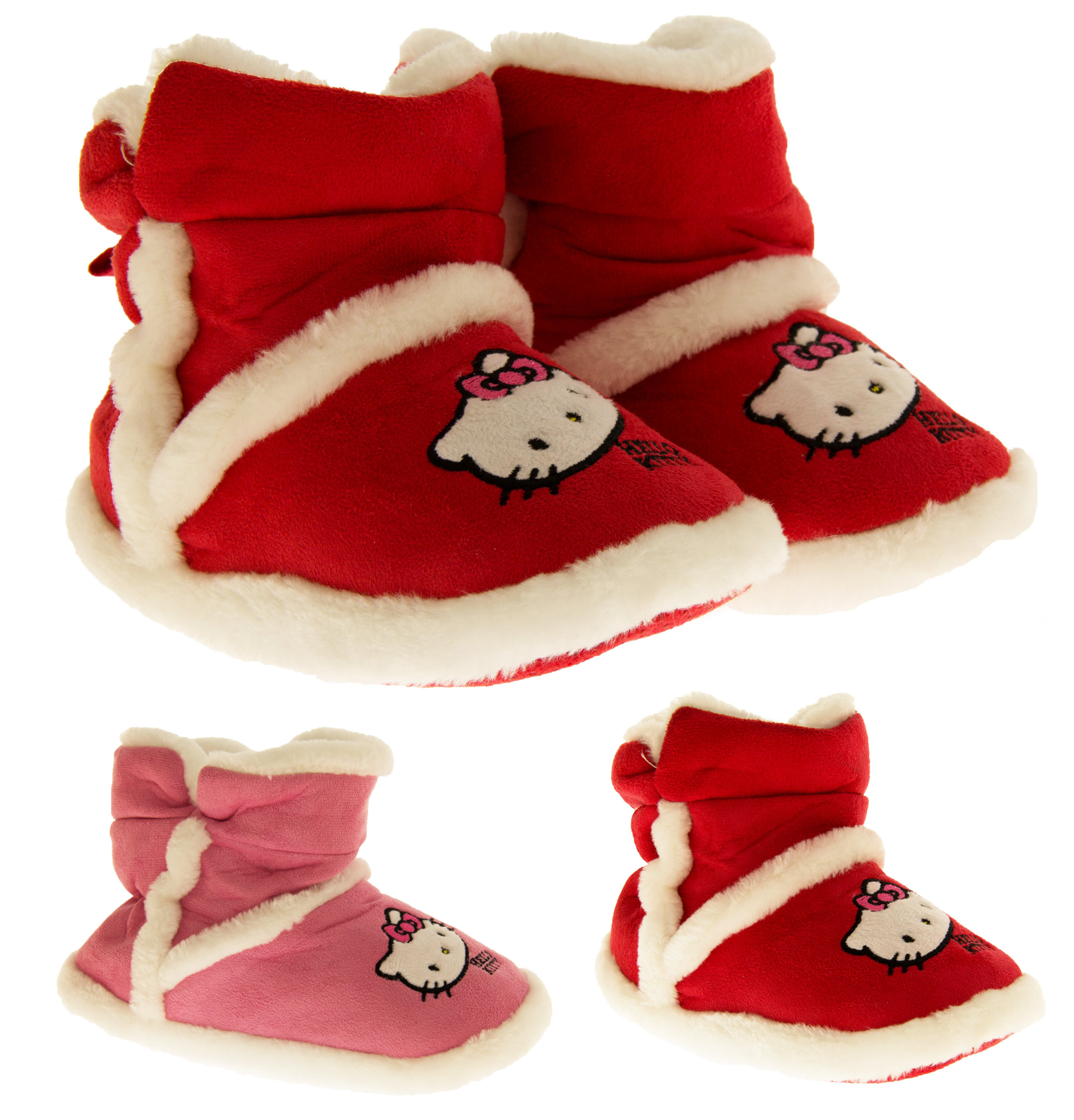 f6ce186aa Details about Girls Hello Kitty Pink Warm Faux Fur Lined Cosy Winter Boot  Slippers Size 2-2.5