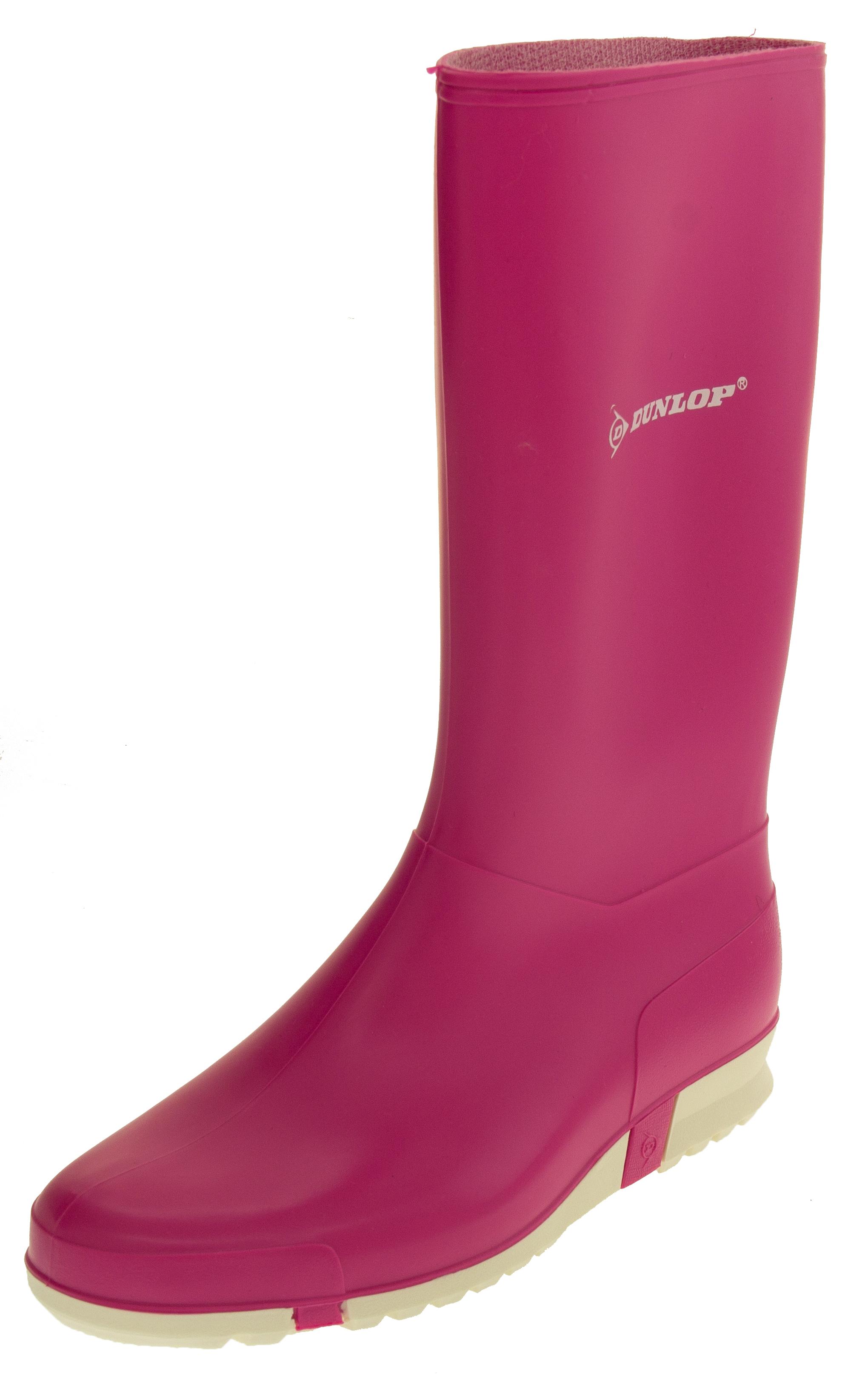 d7be945289e Girls Dunlop Sport Pink Waterproof Rubber Wellington Boots