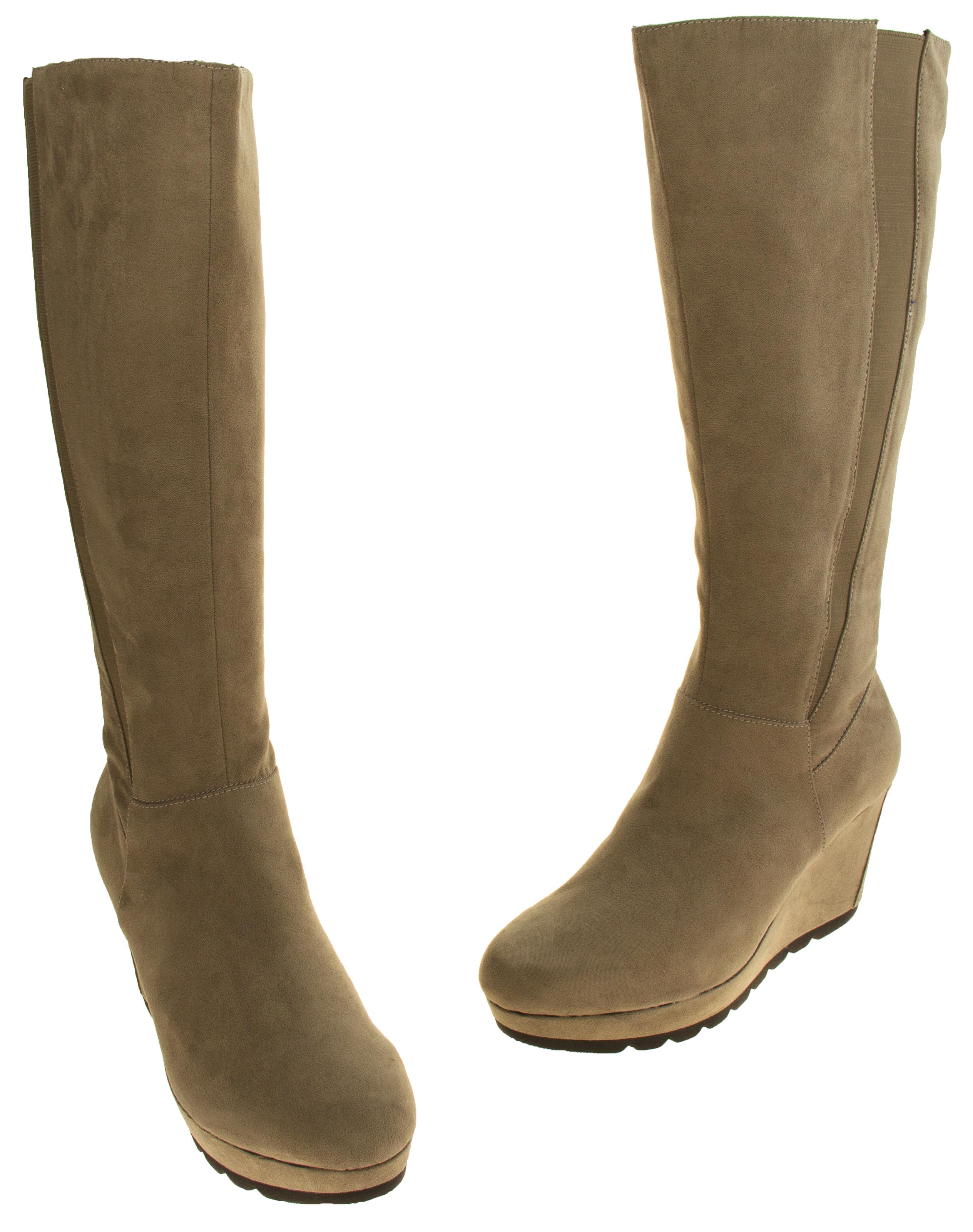 85ab59c929d Sentinel Ladies S.Oliver Beige Faux Suede Knee High Boots Platform Wedge  Heel Size 4 6. Sentinel Thumbnail 7