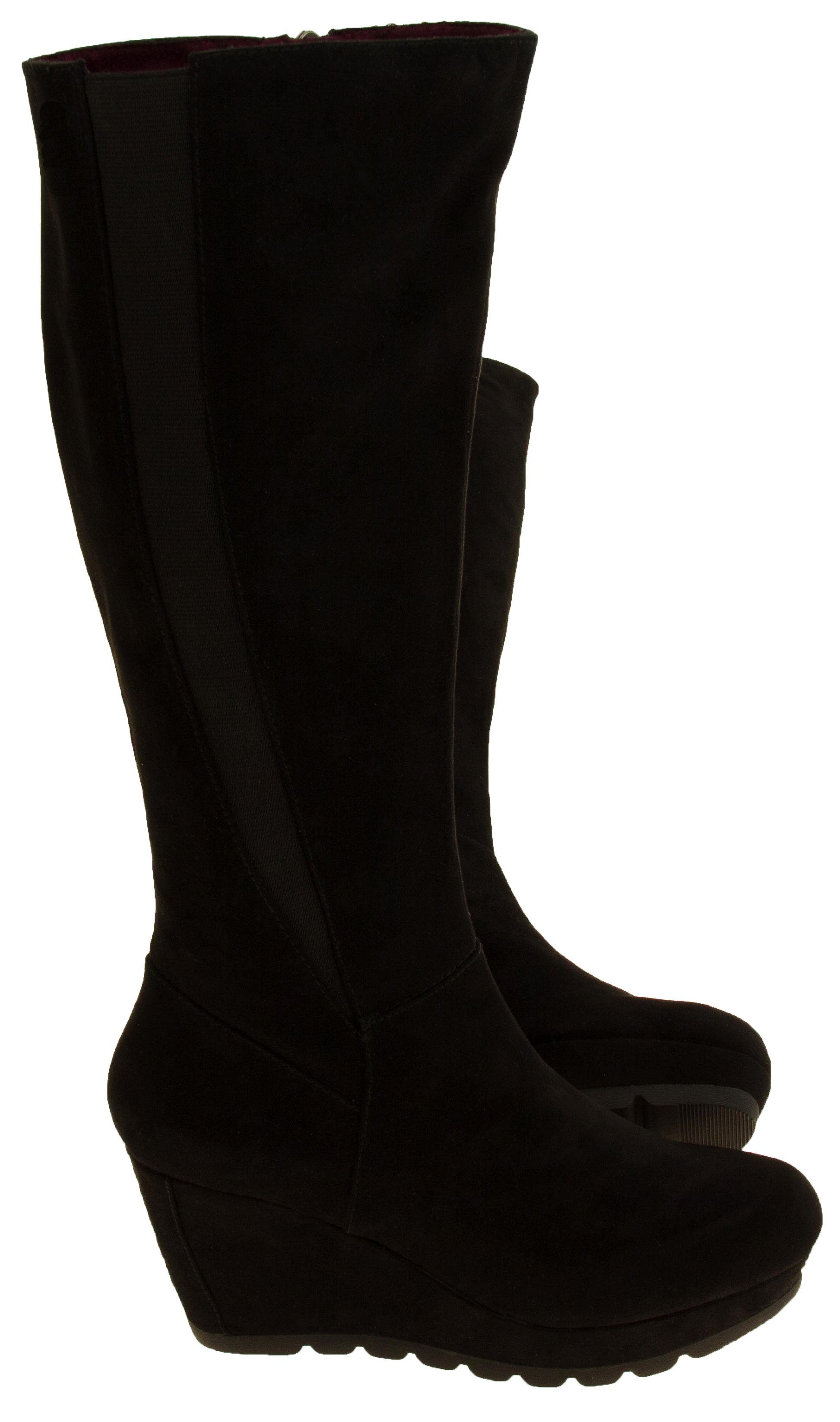 womens s oliver suede effect wedge heel boots ladies knee high platform size 7 8 ebay. Black Bedroom Furniture Sets. Home Design Ideas