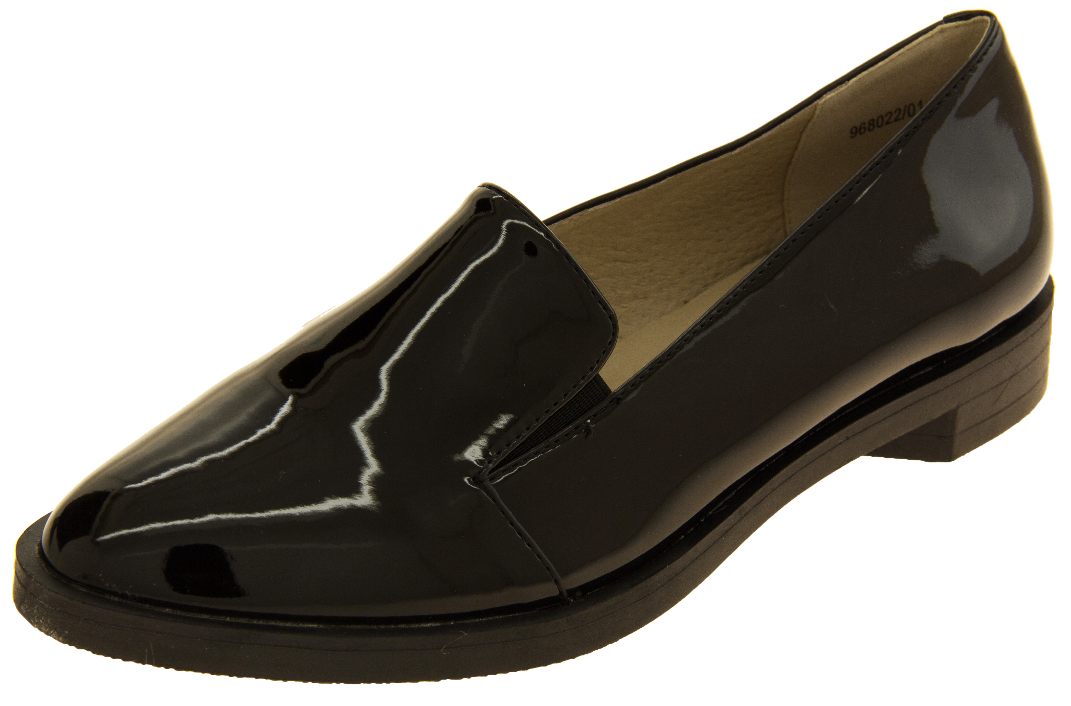 1faefb8cd7a Ladies Betsy Elegant Flat Faux Leather Patent Loafers Shoes