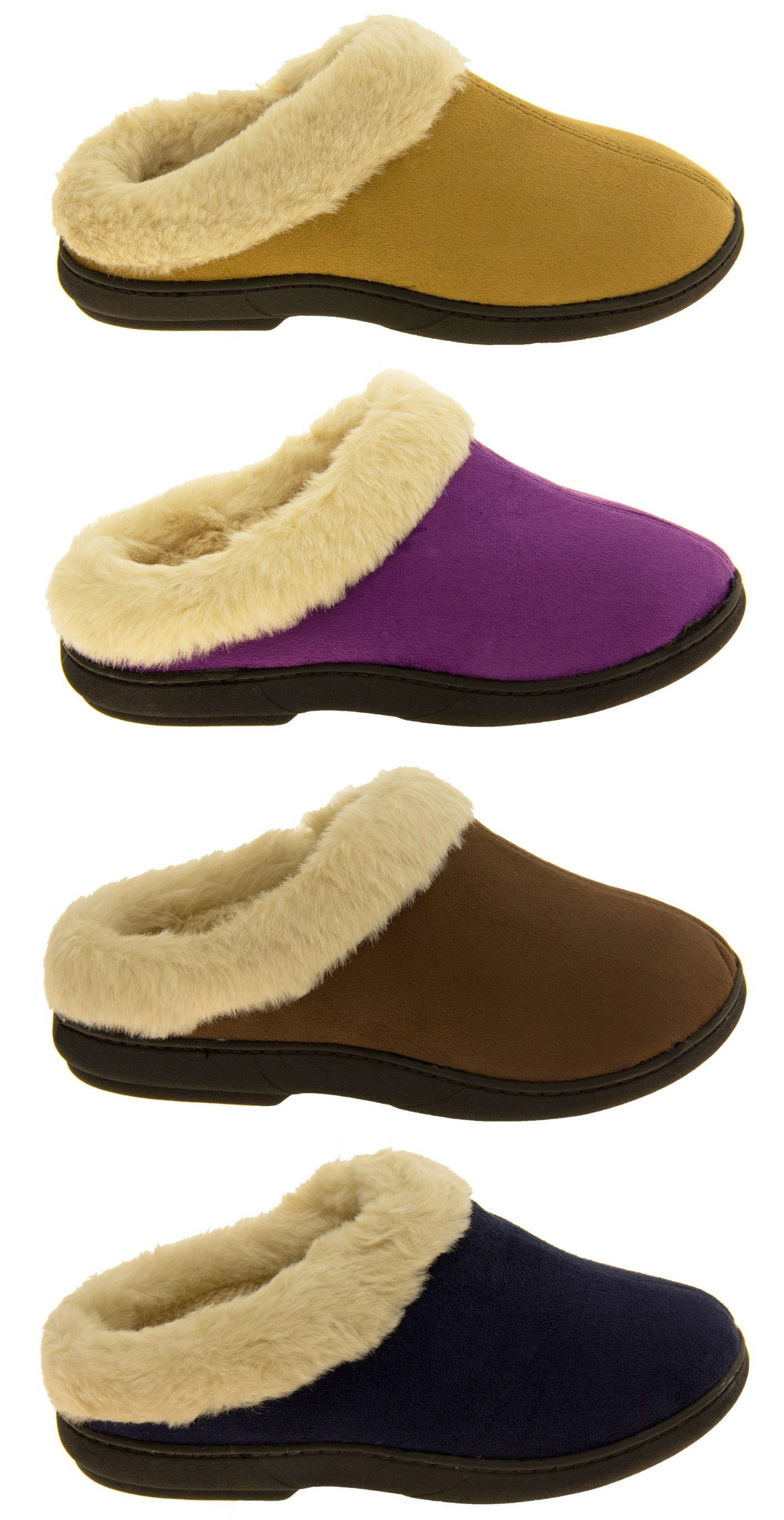 M US Coolers Womens Brown Synthetic Fur Lined Slippers 9 B