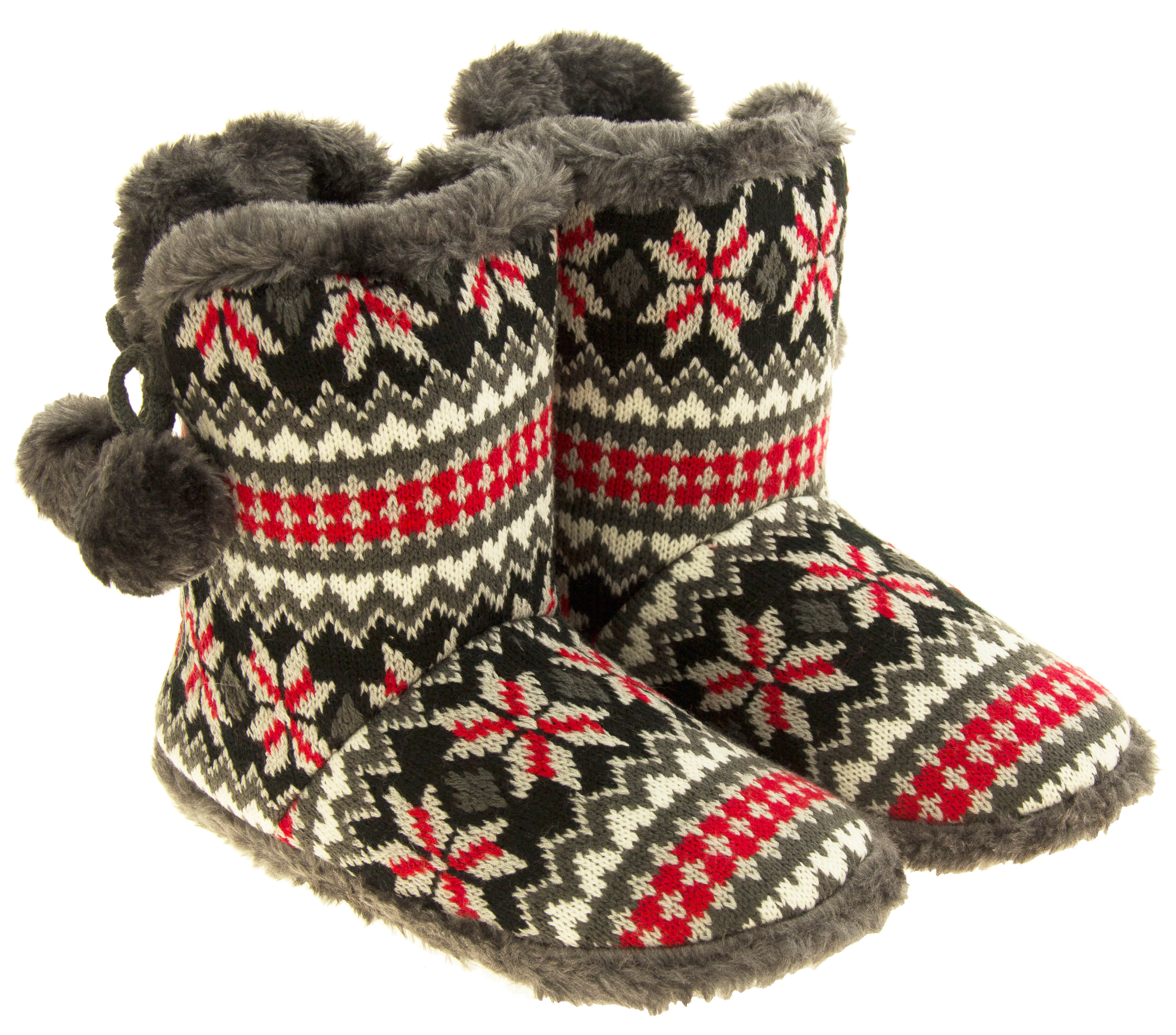 Ladies Coolers Knitted Faux Fur Slipper Women Slouch Boots Sizes 3-8