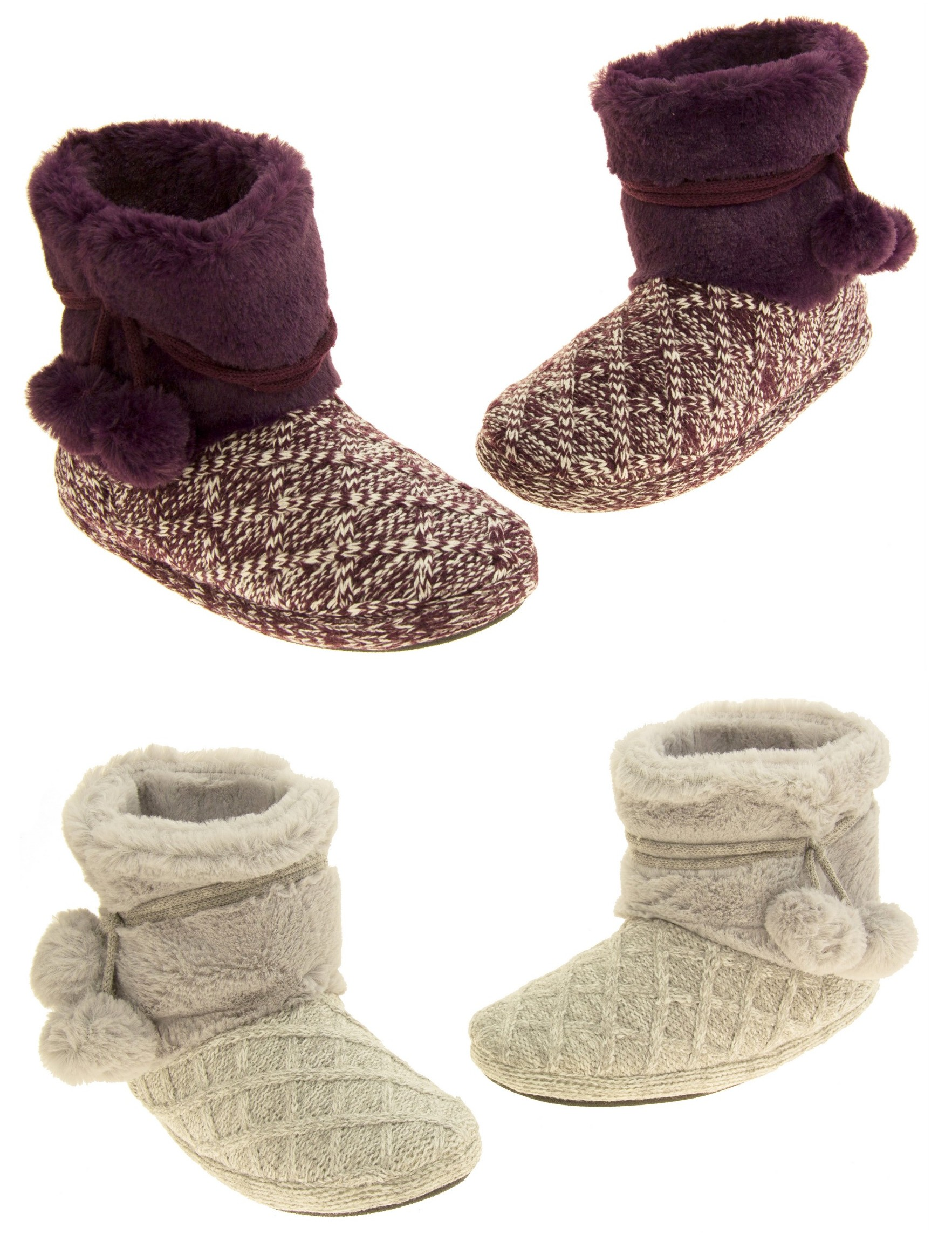 Ladies Coolers Warm Fur Lined Knitted Slipper Boots Size 3 8 Ebay