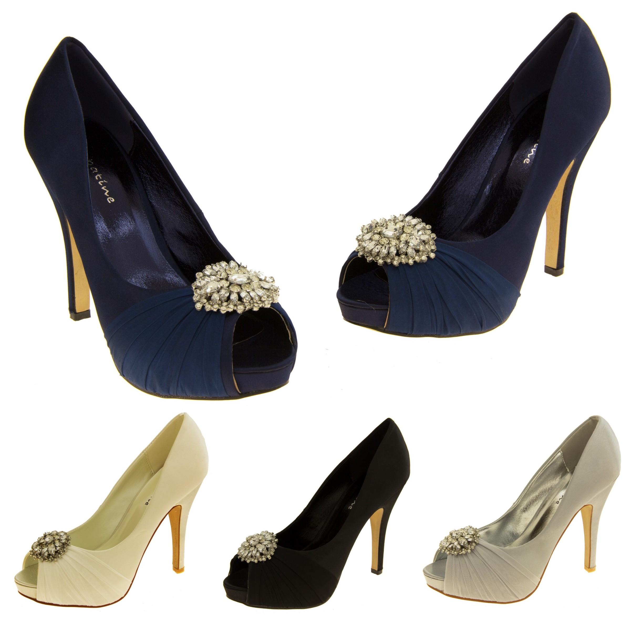 91766a4c26683 Details about Ladies Satin SABATINE Diamante Brooch Bridal Wedding Shoes  Sizes 3 4 5 6 7 8