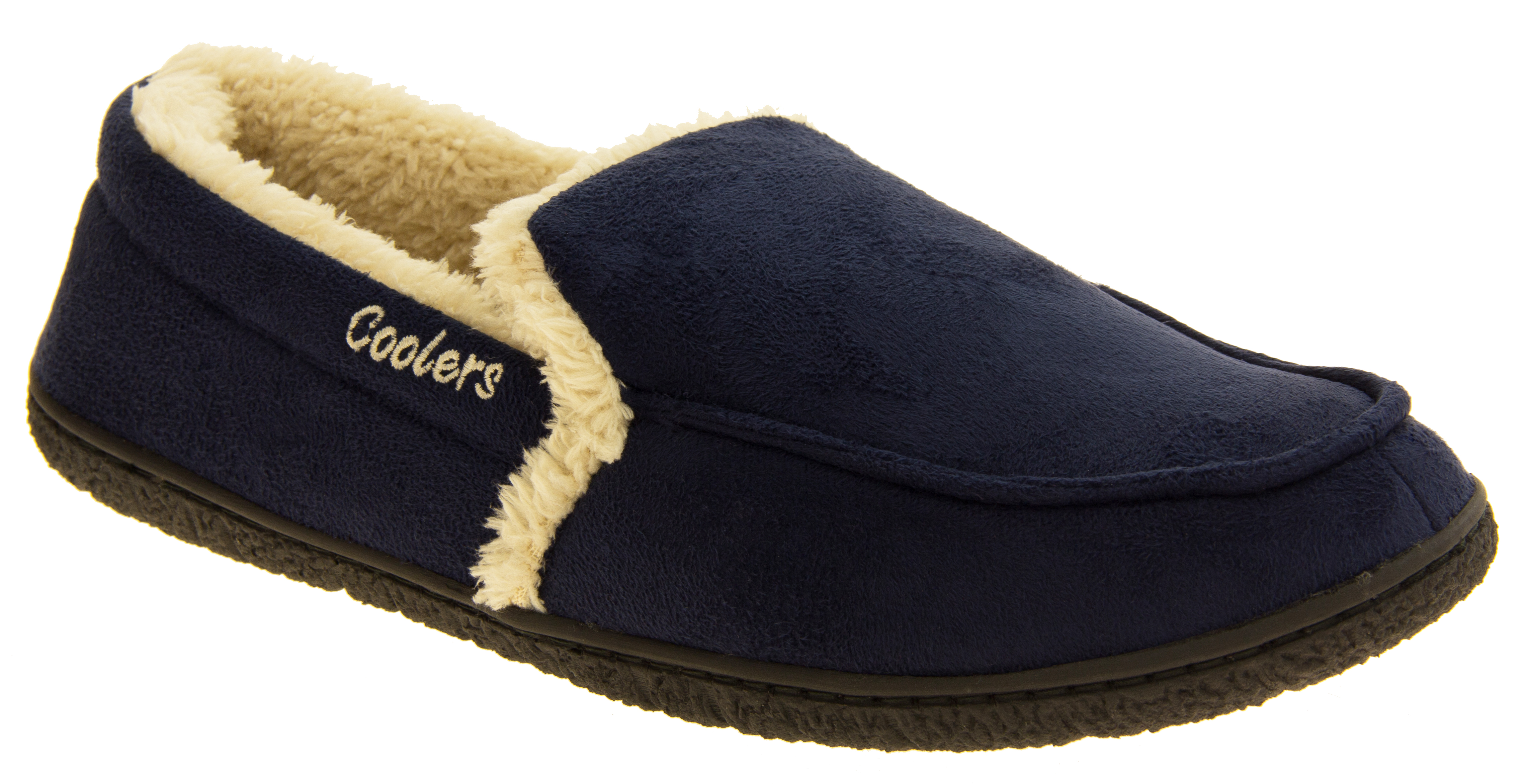 Mens Coolers Faux Suede Full Back Padded Cosy Slippers Sizes UK 7 8 9 10 11 12