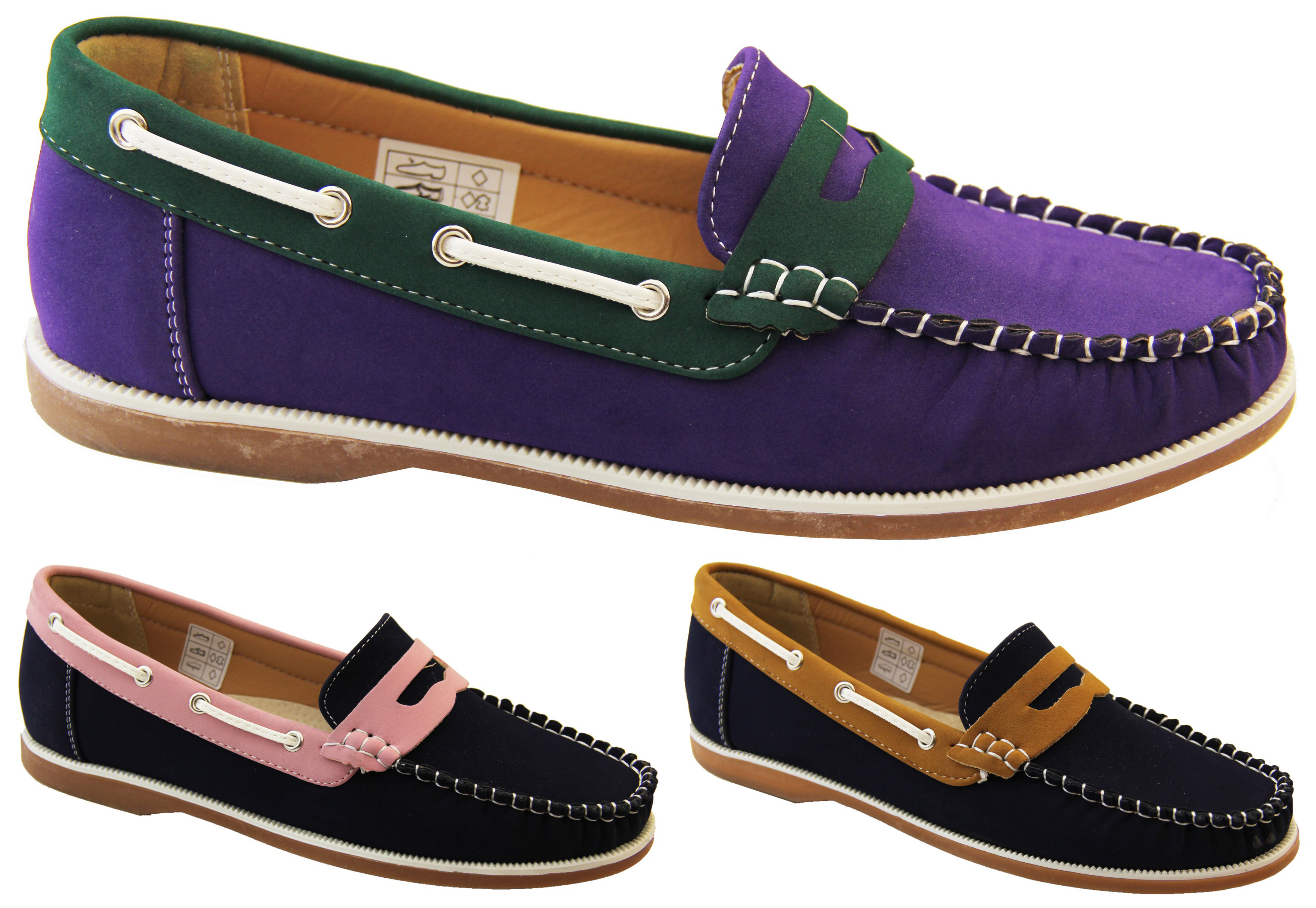 ba38fef265f Ladies Faux Leather Nubuck SHORESIDE Smart Moccasins Deck Shoes Loafers  Size 4-8