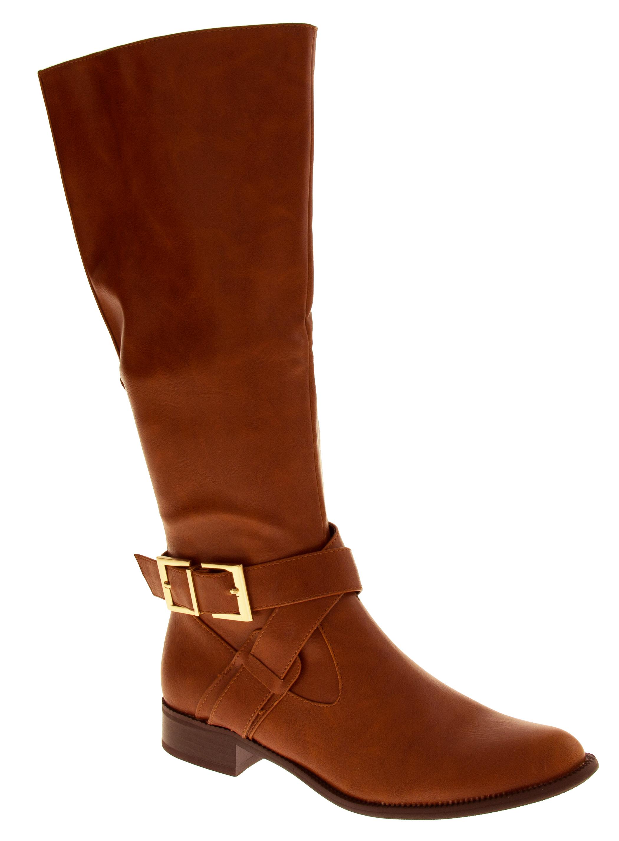 Womens Boots Low Heels Flat Knee High Work Boot Office Winter Sz Size 3 4