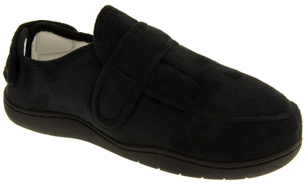 Mens Velcro Adjustable Memory Foam Slippers Womens Mens