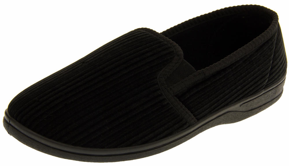 Mens Four Seasons Twin Gusset Outdoor Sole Slippers