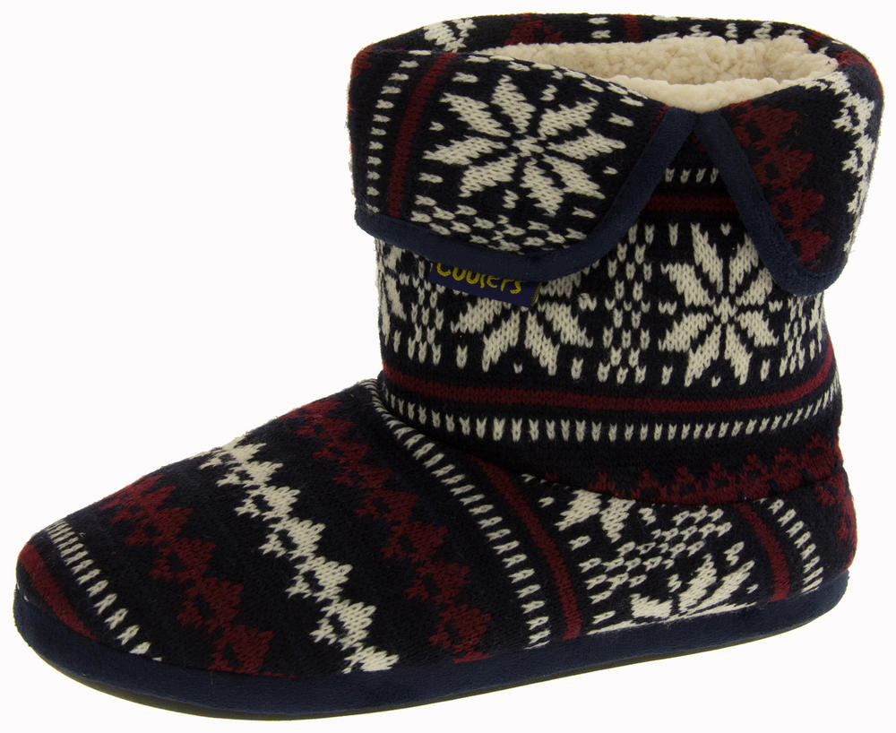 Mens Coolers Fairisle Knitted Warm Lined Boot Slippers