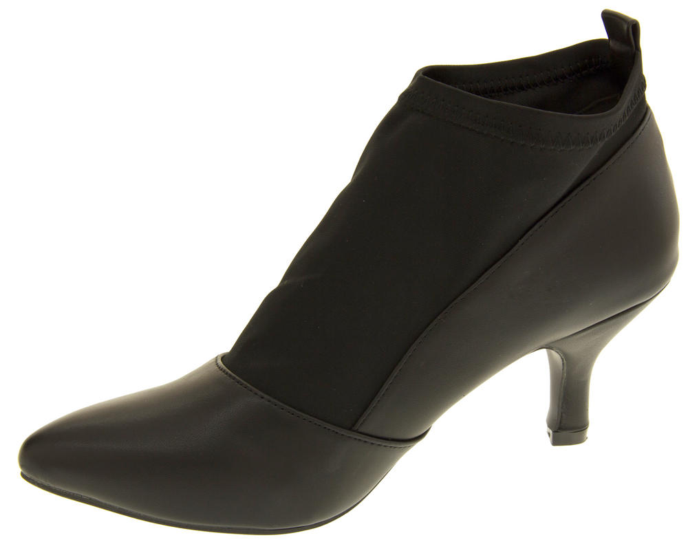Ladies Poshh! Stretch Block Heel Court Shoe