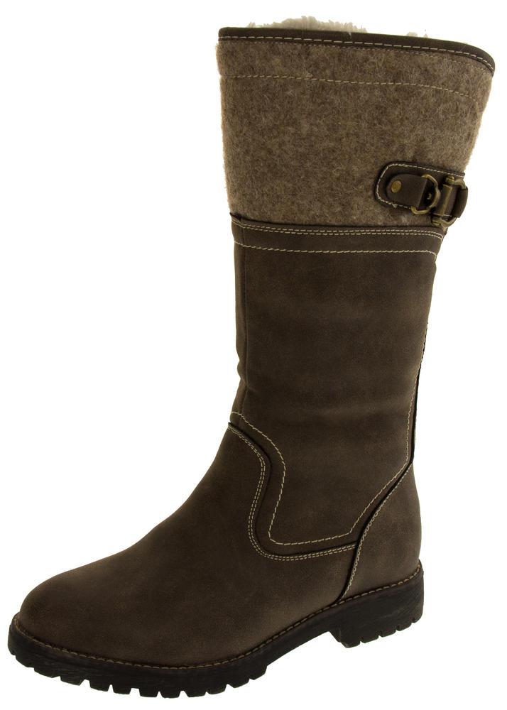 Ladies Keddo Faux Leather Fur Lined Biker Boots