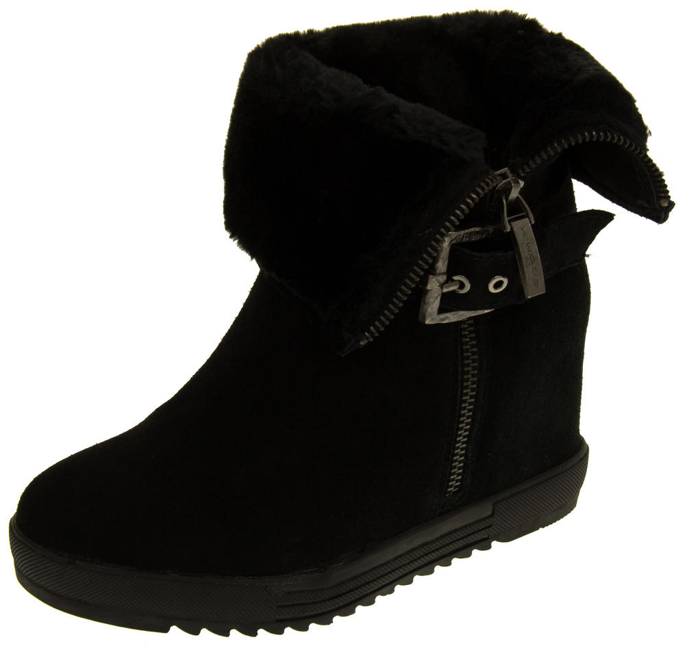 Ladies Keddo Faux Fur Lined Hidden Wedge Ankle Boots