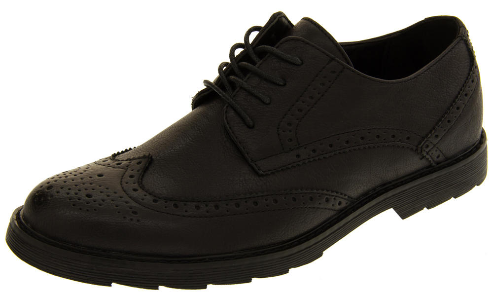 Mens Classics Faux Leather Brogues Formal Lace Up Office Shoes Smart School Shoe