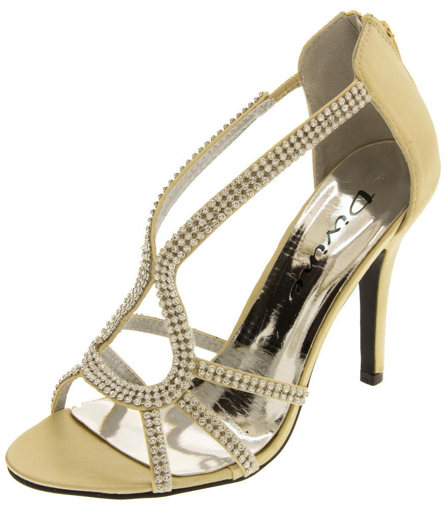 Ladies Divine Satin and Diamante Strappy Wedding Heels