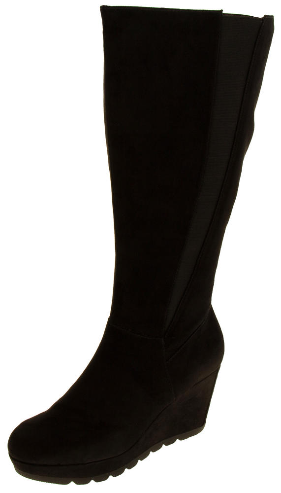 Ladies S.Oliver 25527-27 Faux Suede Wedge Heel Knee High Boots