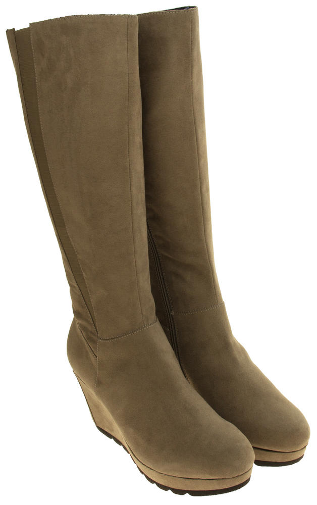 7a04f68bdb2 Ladies S.Oliver 25527-27 Faux Suede Wedge Heel Knee High Boots ...