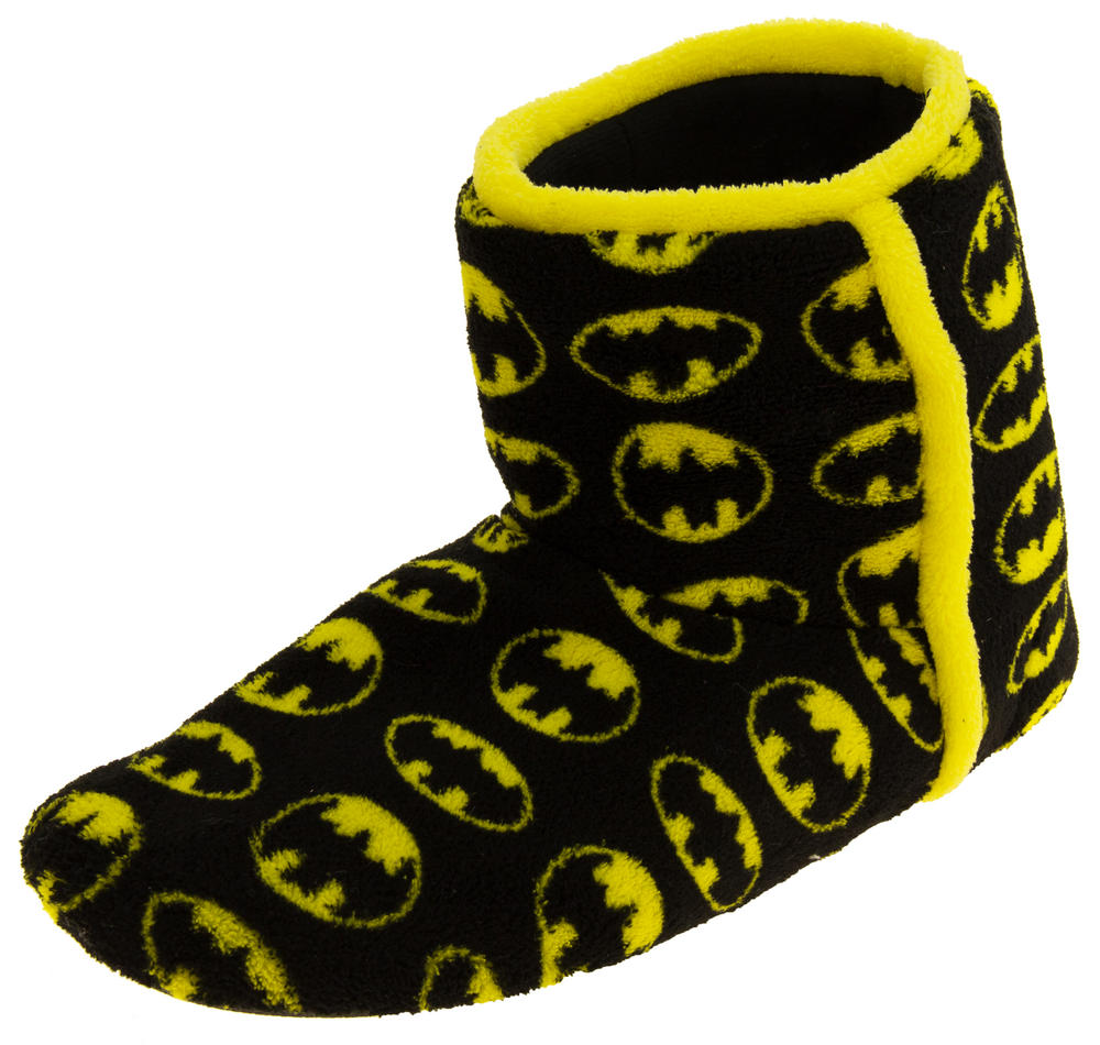 Mens Batman Fleece Warm Pull On Boot Slippers