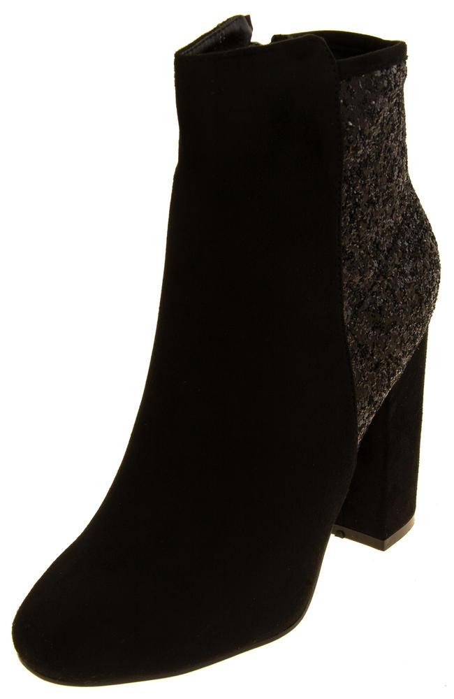 Ladies Divine Faux Suede Glitter Ankle Boots