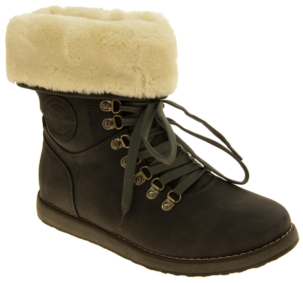 Ladies Keddo Grey Faux Leather Ankle Boots Faux Fur Lined