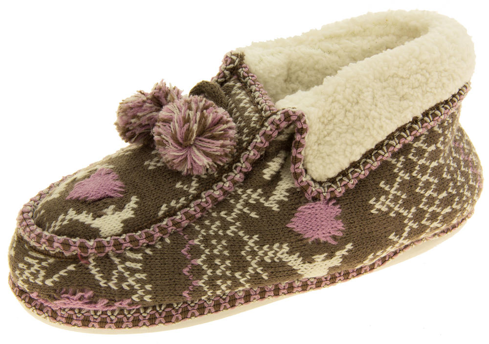 Ladies Coolers Winter Fur Lined Fairisle Slipper Boots
