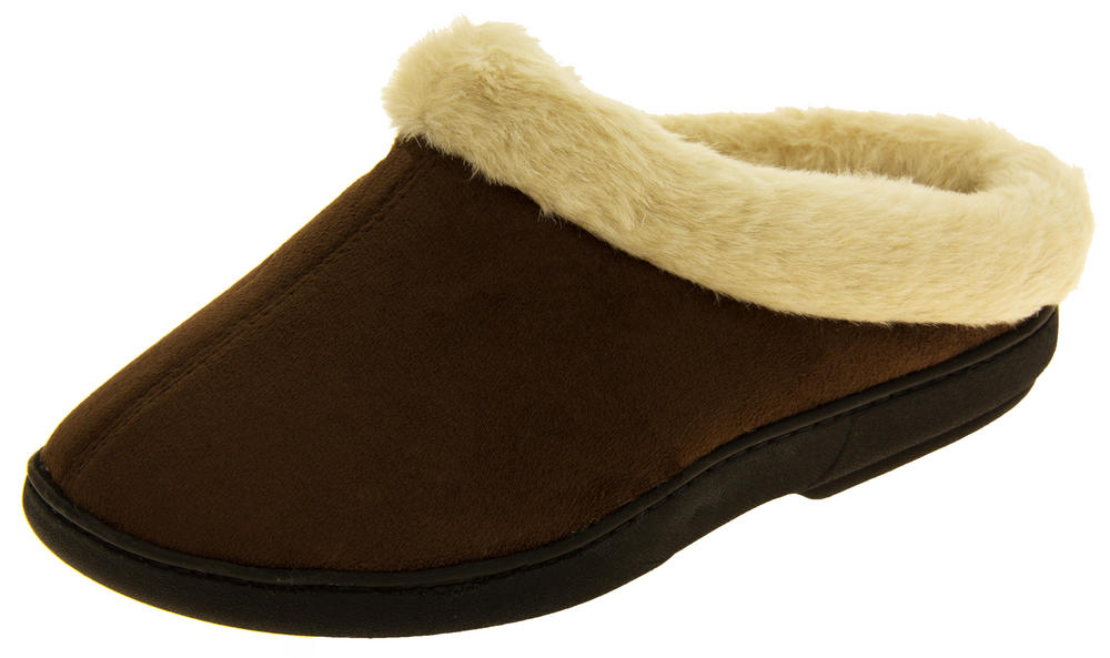 Womens 'Coolers' Fur Lined Faux Suede Warm Mule Slippers