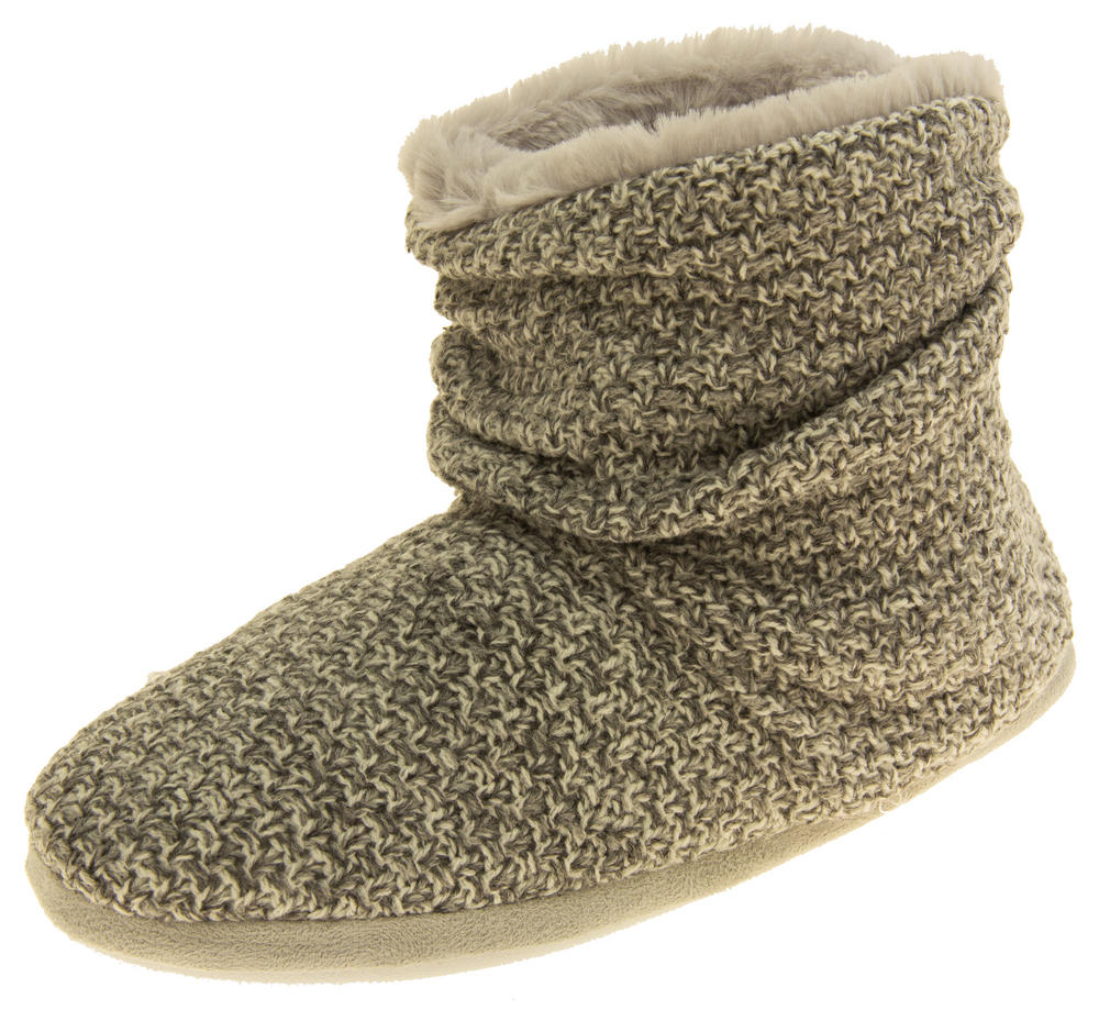 Ladies Coolers Warm Knitted Winter Fur Lined  Slipper Boots
