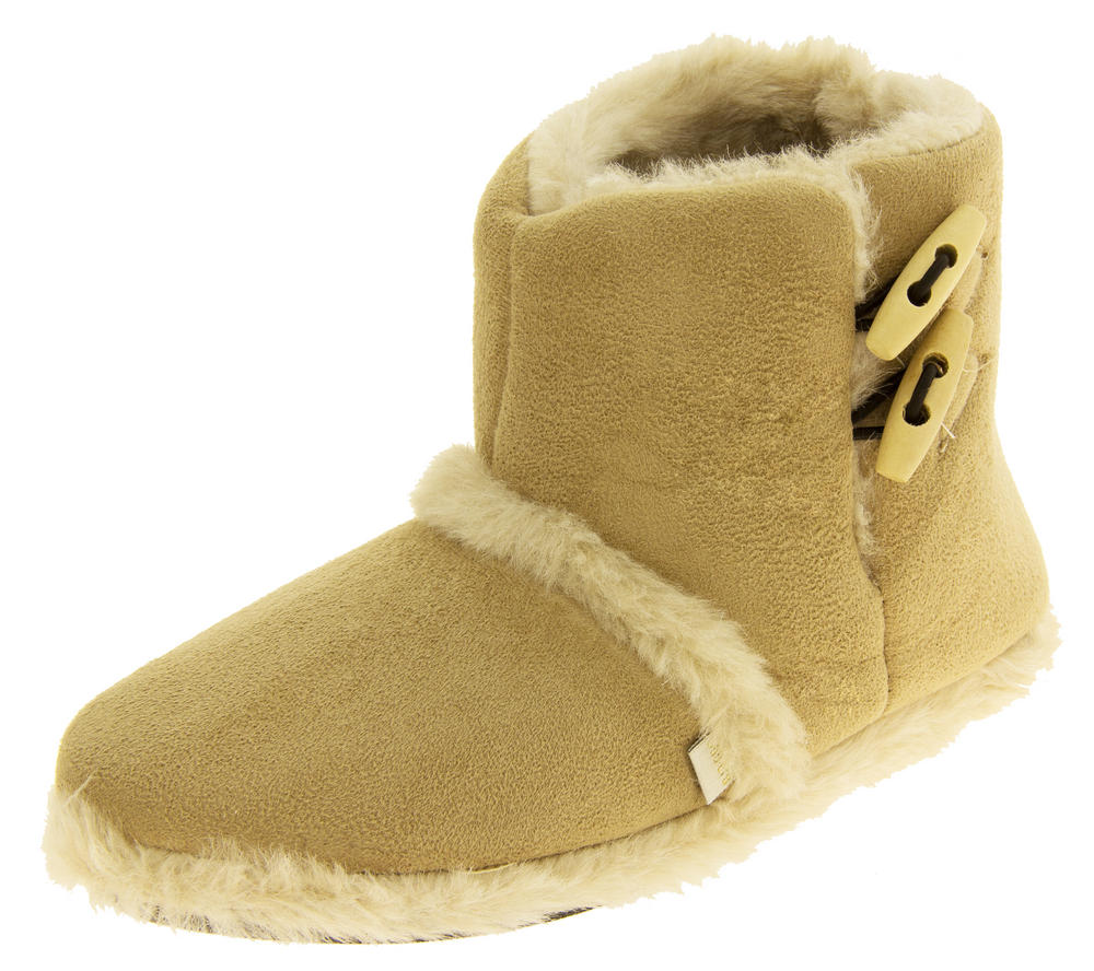Womens Coolers Warm Winter Faux  Fur Lined Toggle Slipper Boots