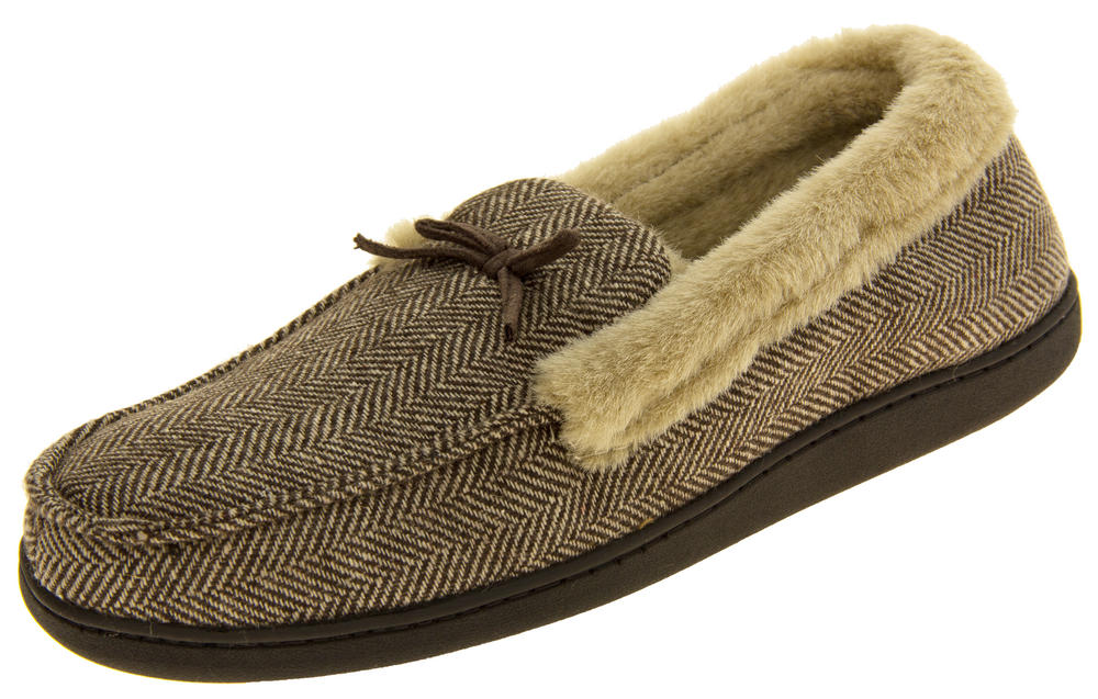 Mens COOLERS Grey Brown Faux Fur Lined  Moccasin Slippers