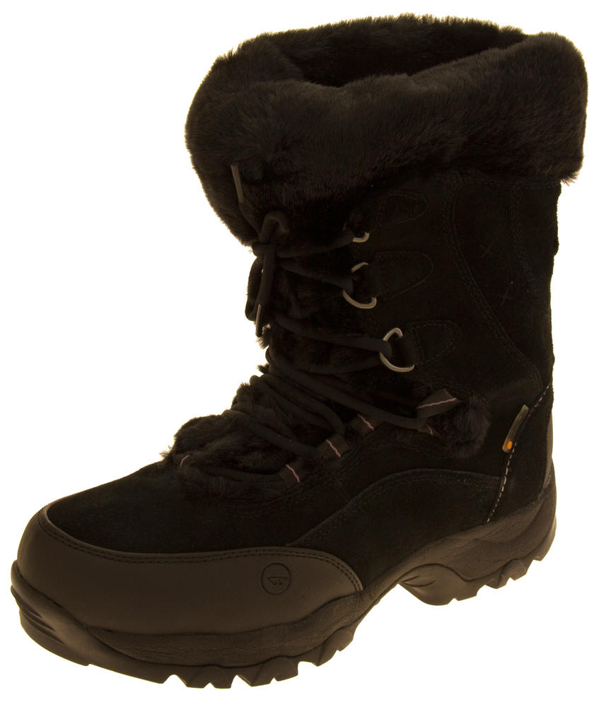 Ladies Hi-Tec Waterproof Suede Faux Fur Winter Snow Boots