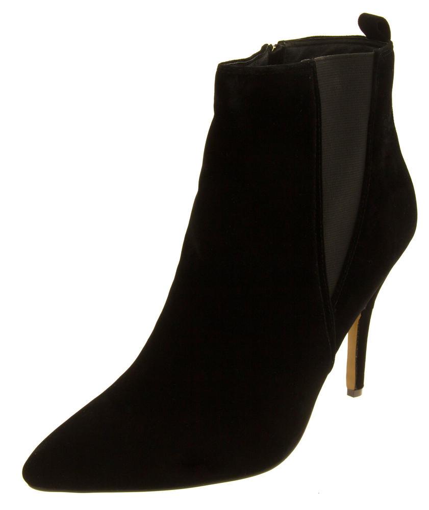 Womens Ravel Coleman Velvet Stiletto Heel Pointed Toe Ankle Boots