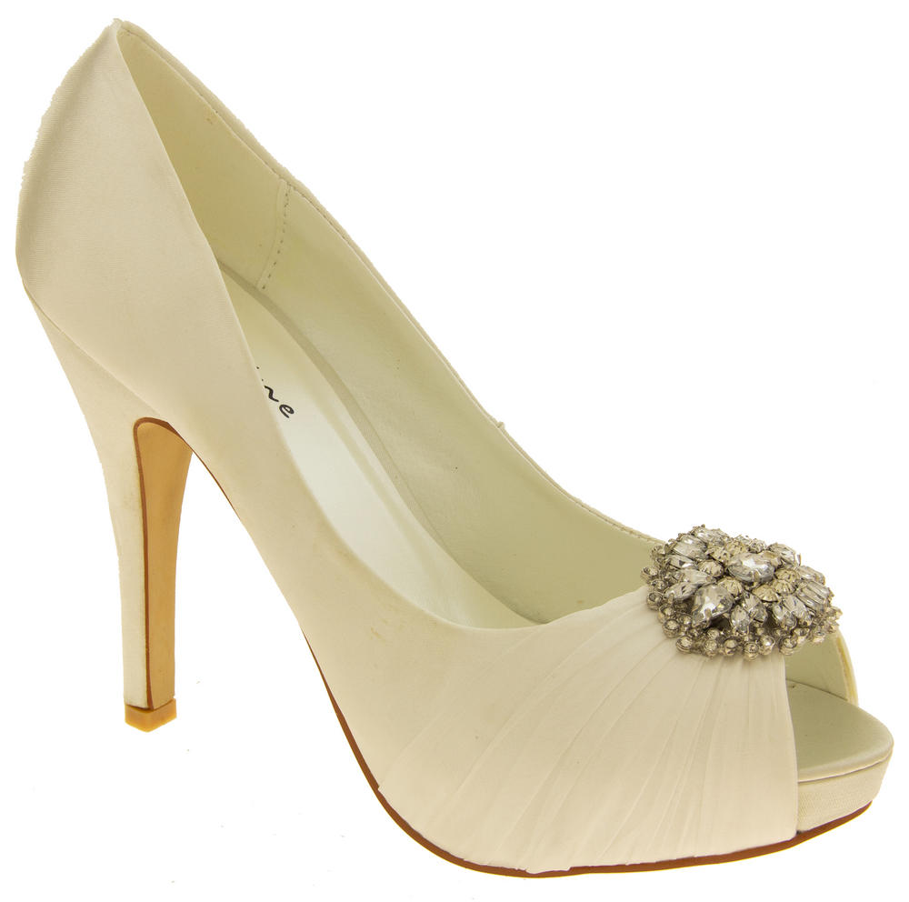 Womens Ladies Wedding  Christening Satin Court Shoes with Platform Heel  Peep Toe  Stiletto Heel  Brooch  T2TBFY3JU