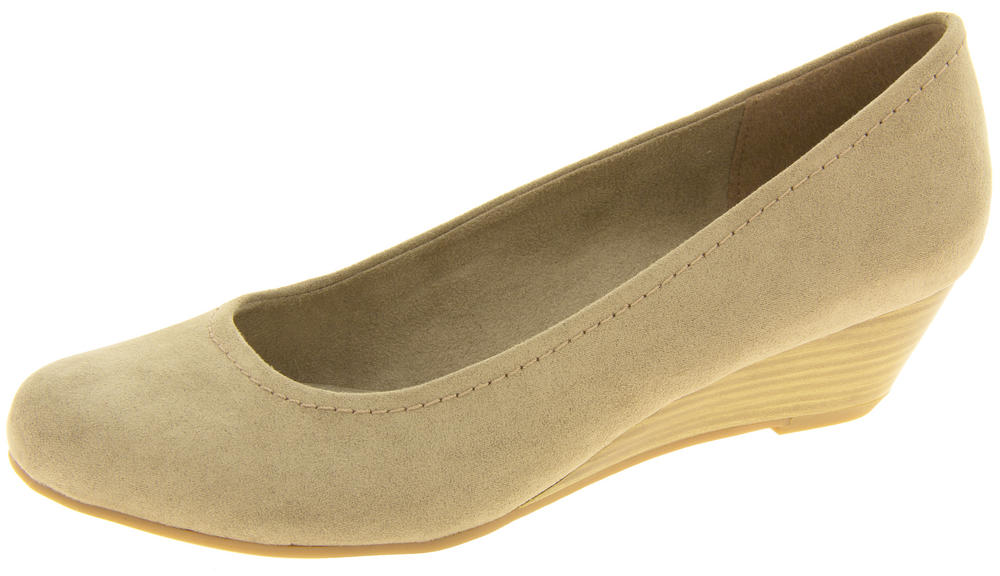 Ladies MARCO TOZZI Wood Effect Low Wedge Heels Court Shoes